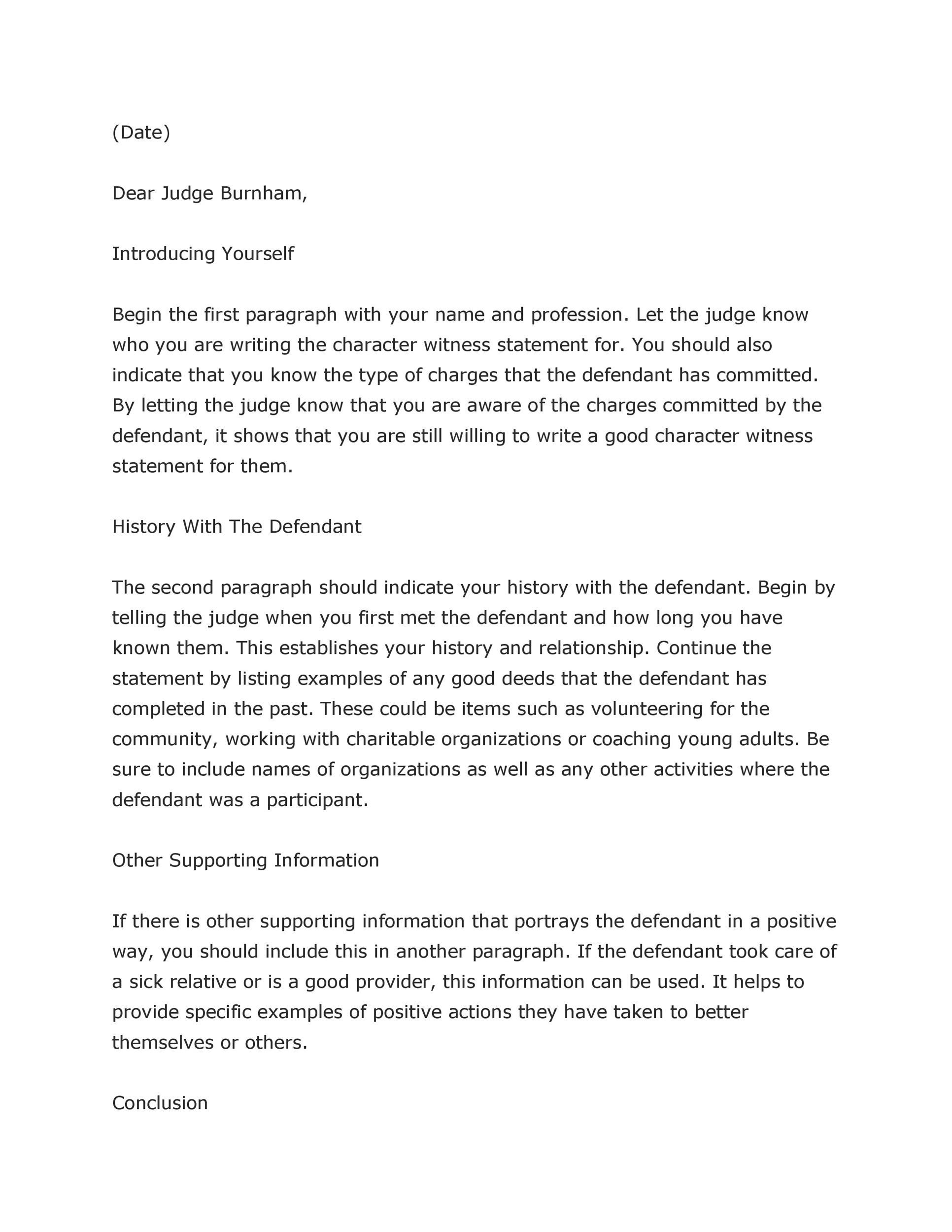 38 Free Character Witness Letters Examples Tips Template Lab