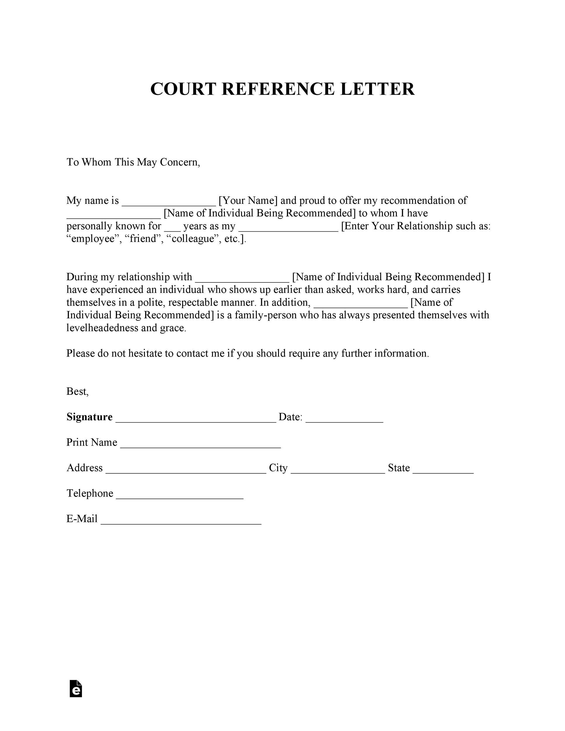 Free character witness letter 27