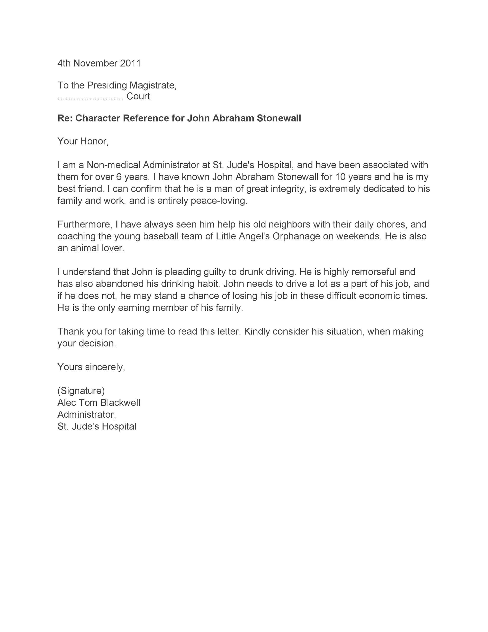 Sample Custody Letter To Judge from templatelab.com
