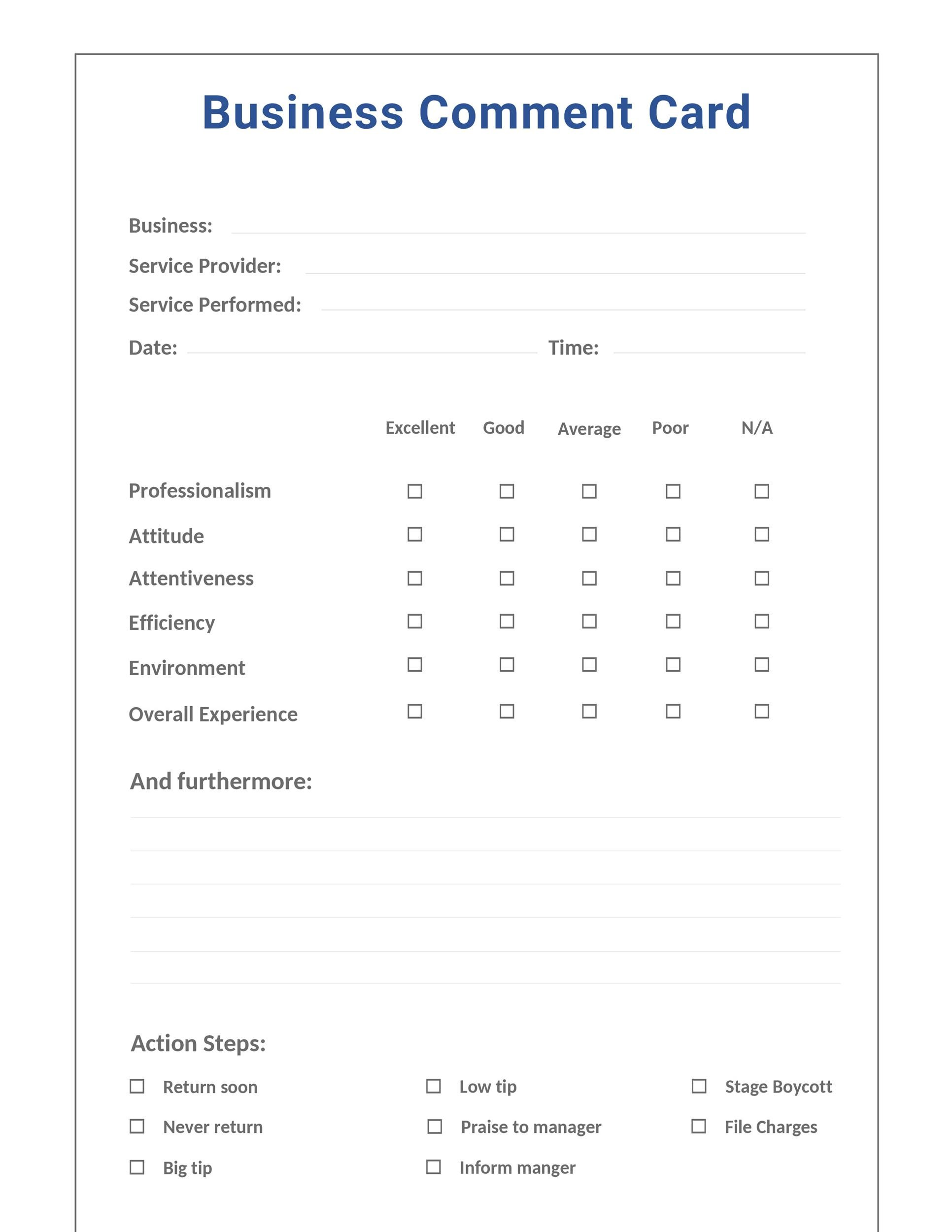 Free comment card template 01