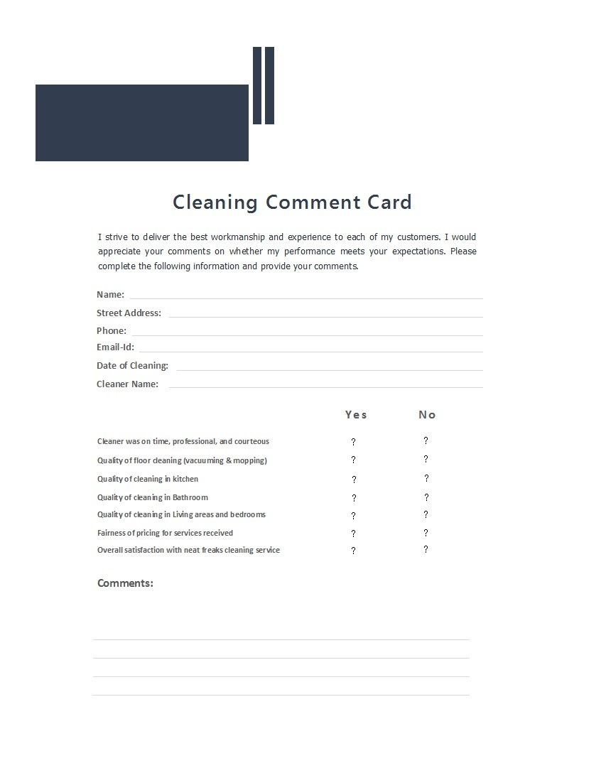Free comment card template 02