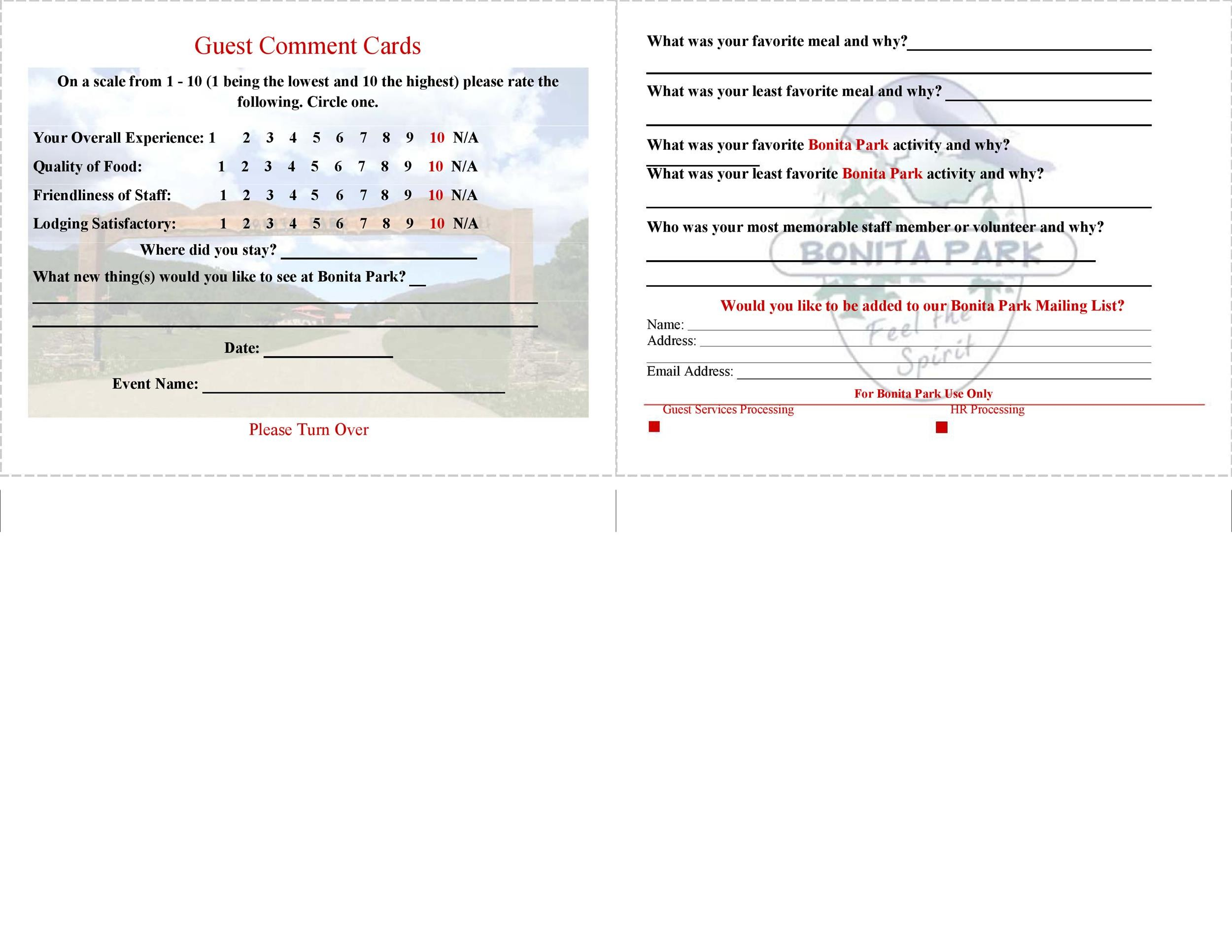 Free comment card template 24