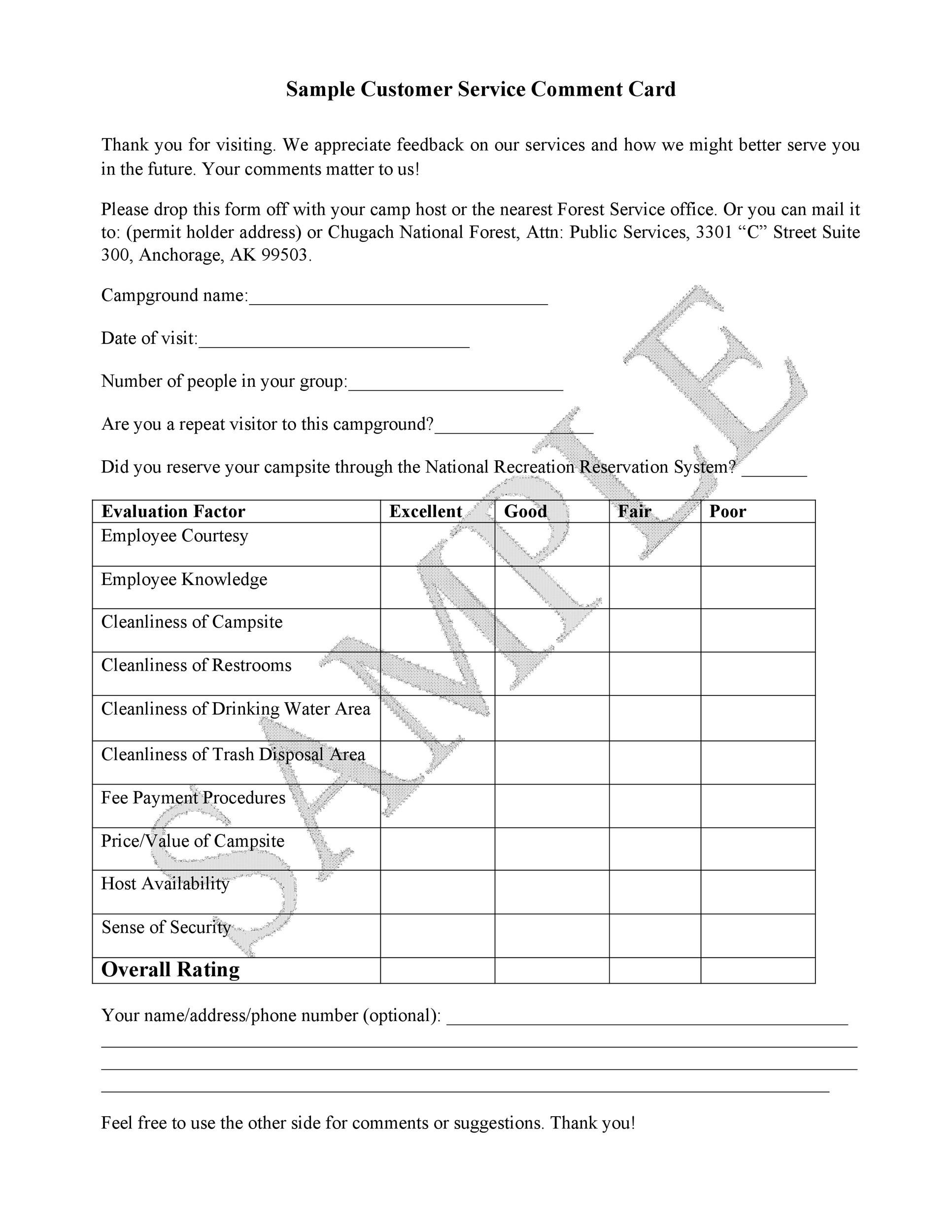 Free comment card template 25