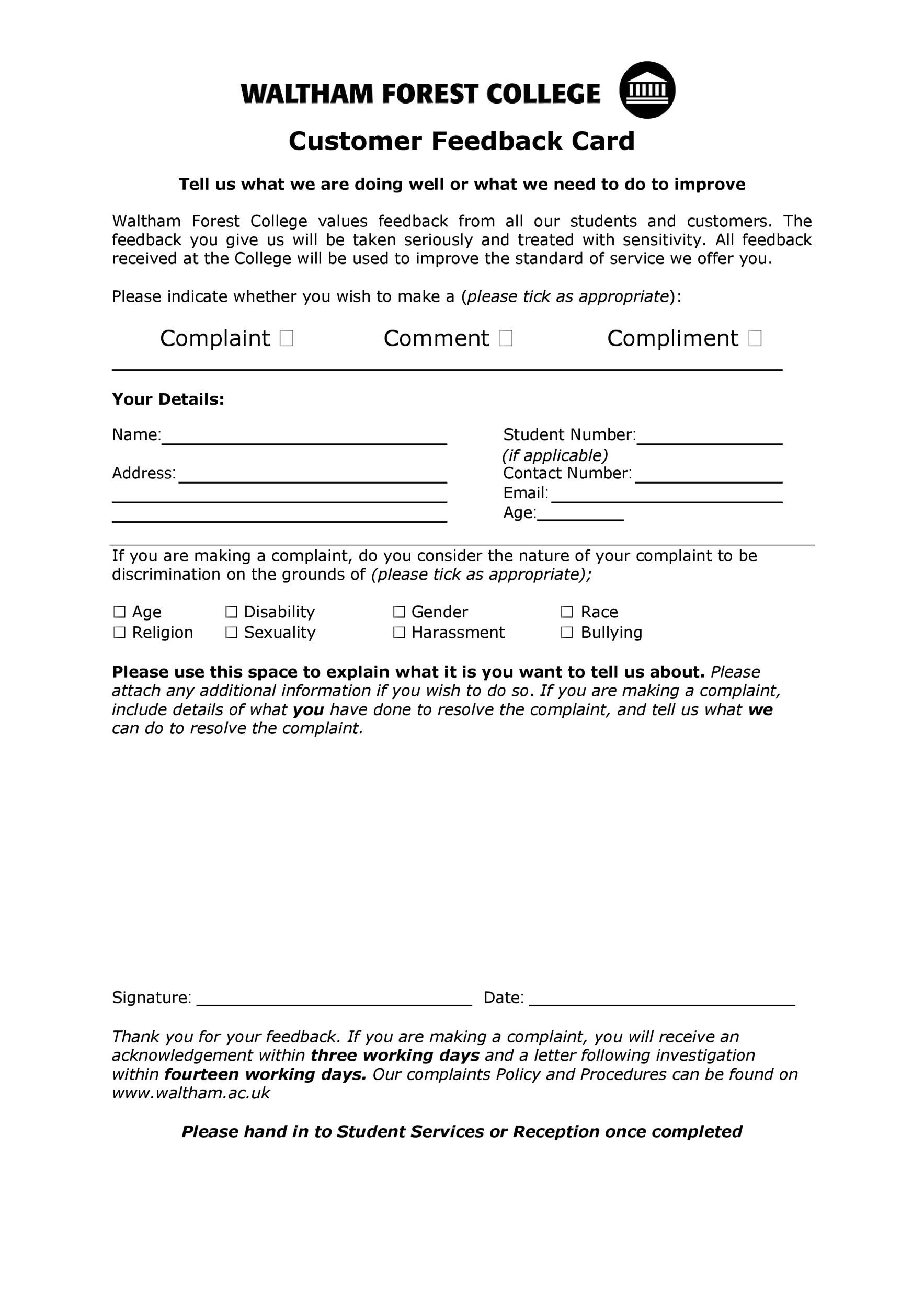 Free comment card template 28