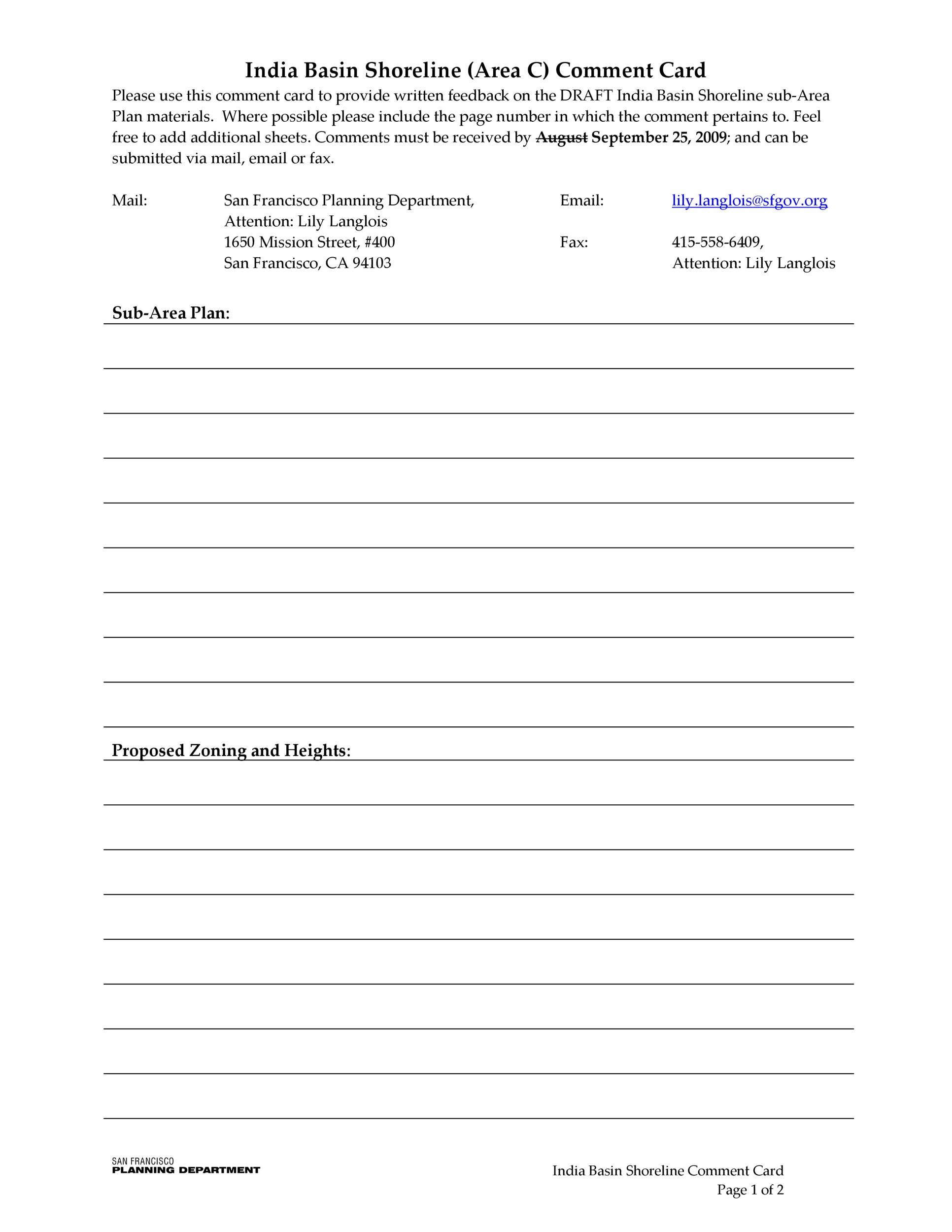 Free comment card template 29