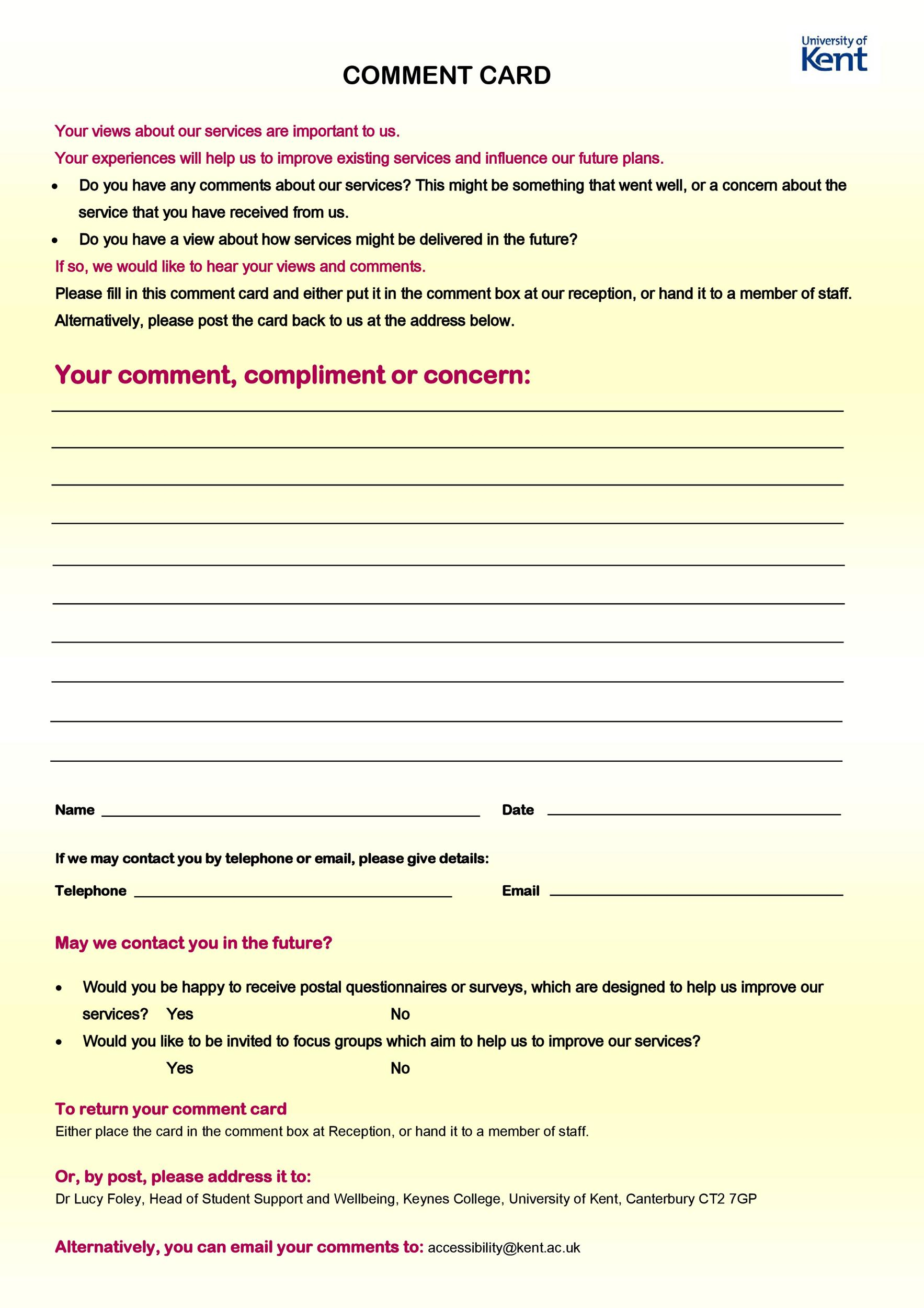 Free comment card template 30