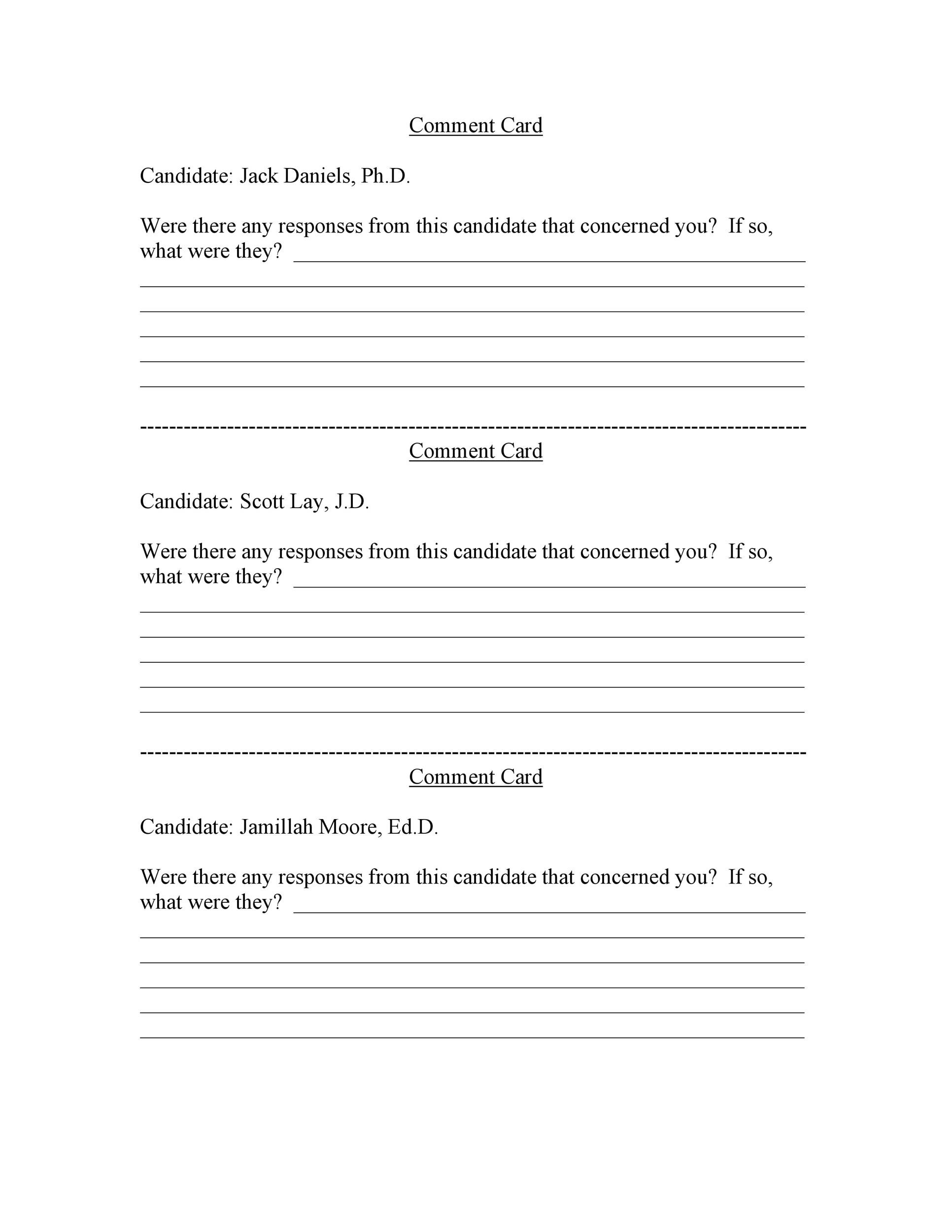 Free comment card template 32