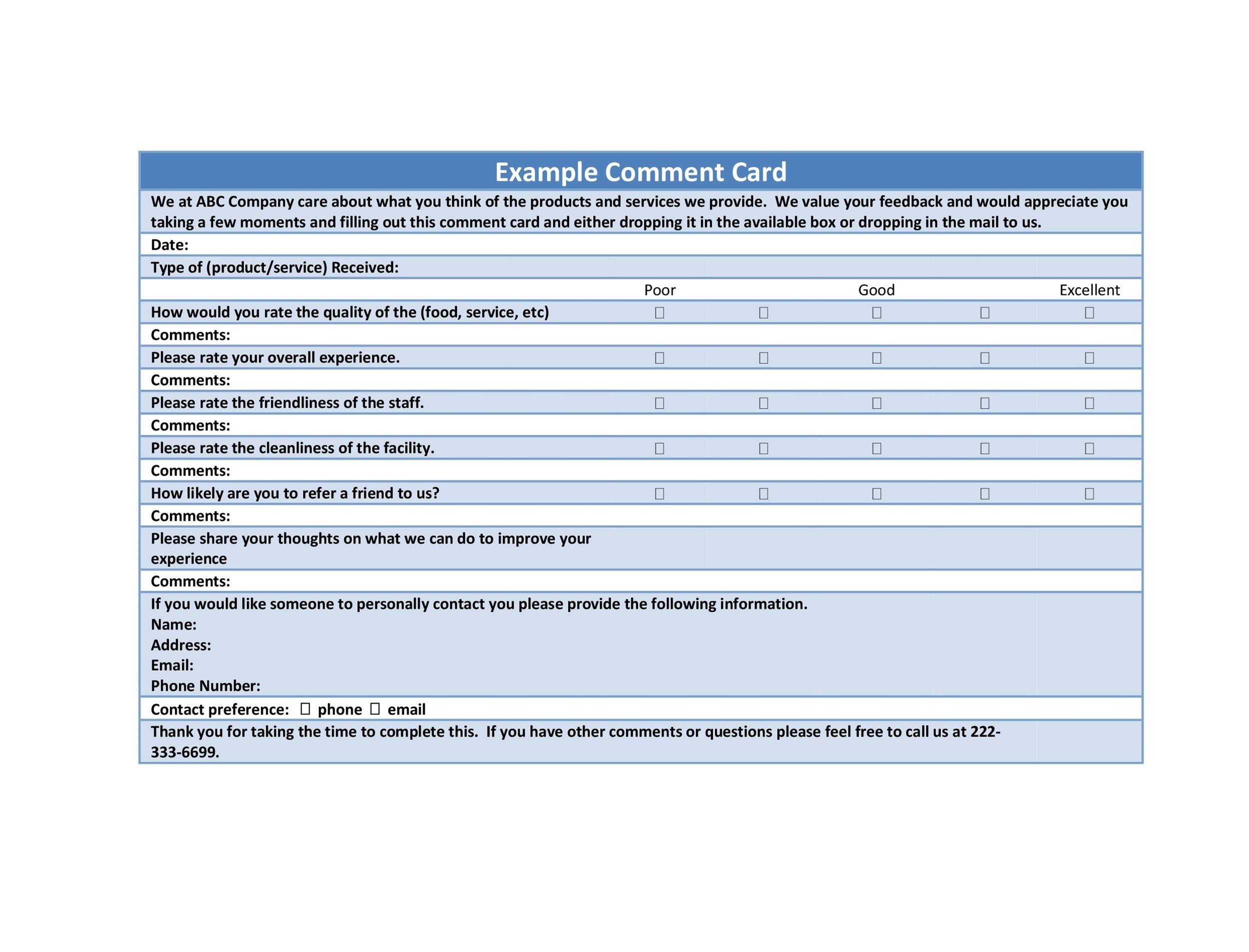 Free comment card template 35