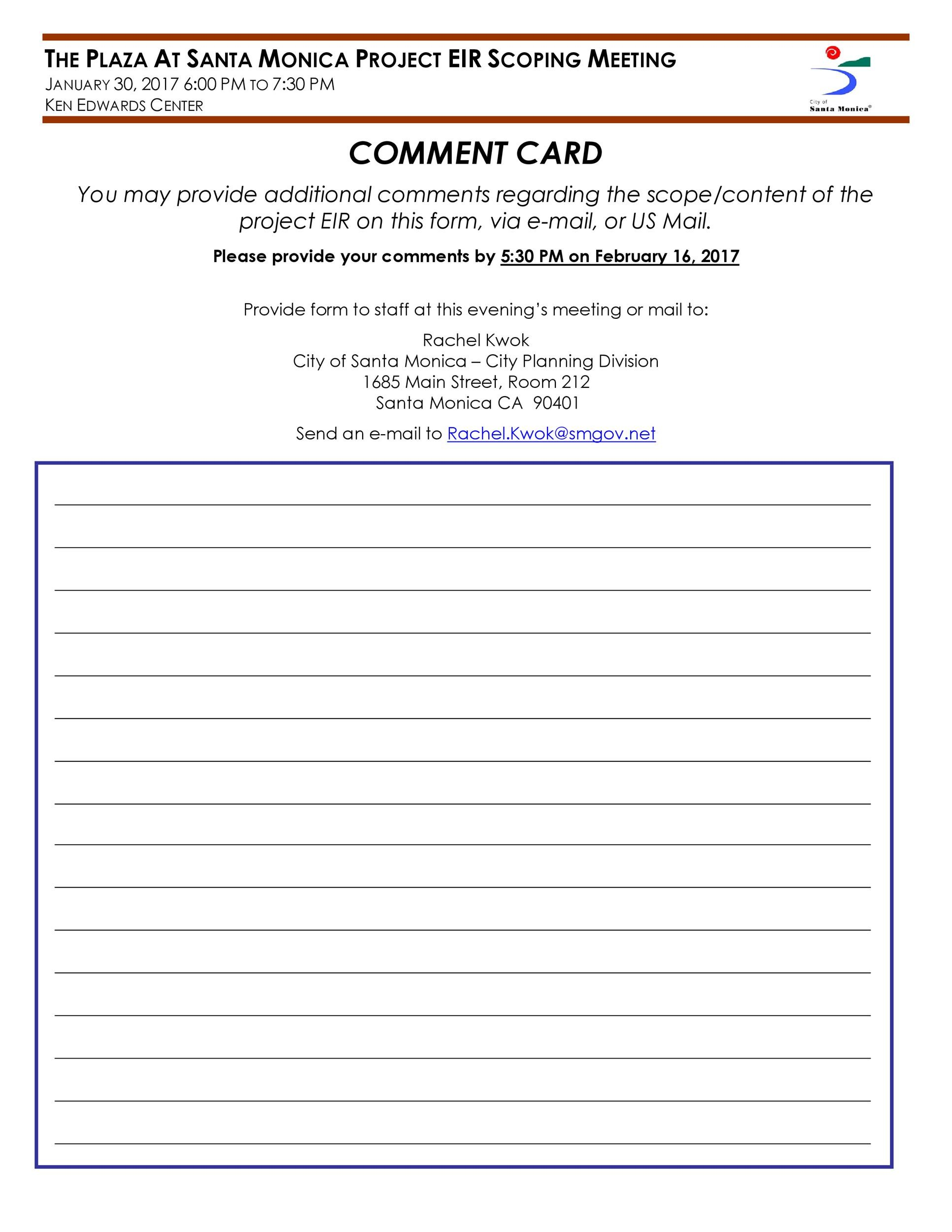 Free comment card template 47