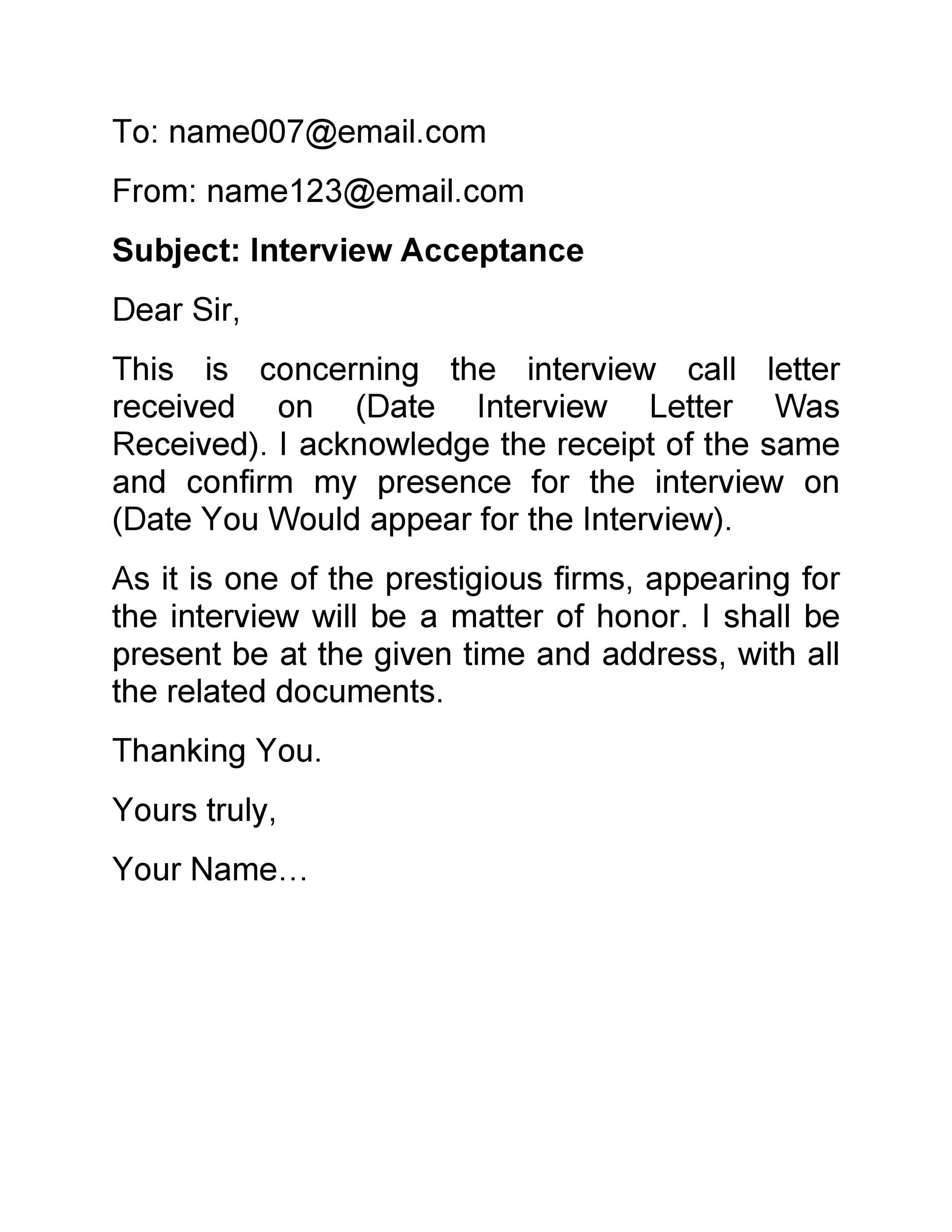 Free interview acceptance email 13
