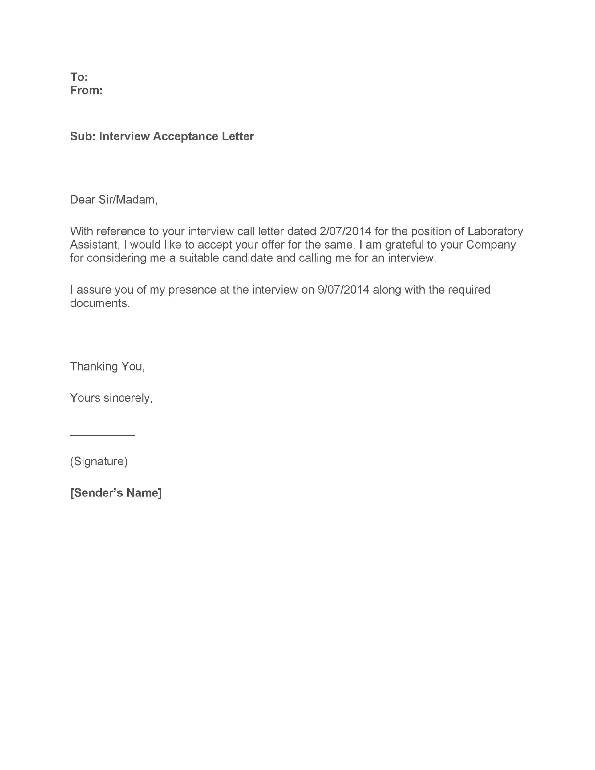 Free interview acceptance email 27