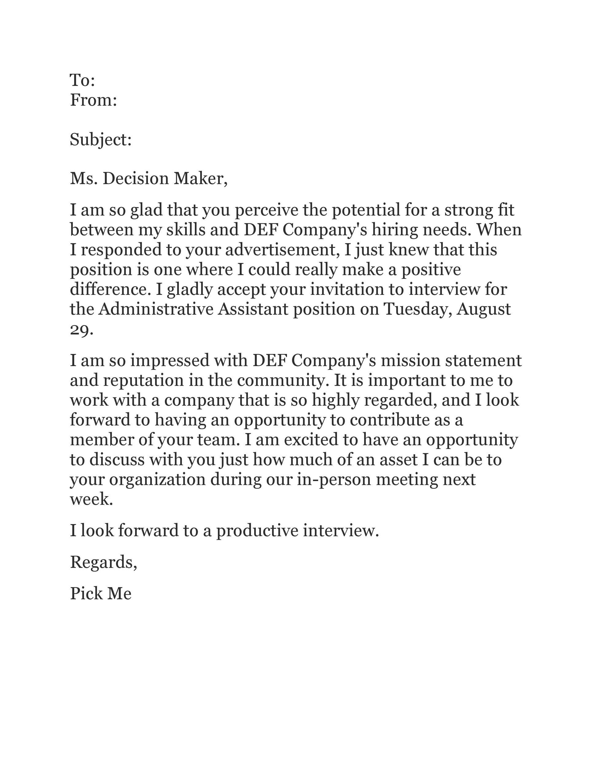 Free interview acceptance email 35