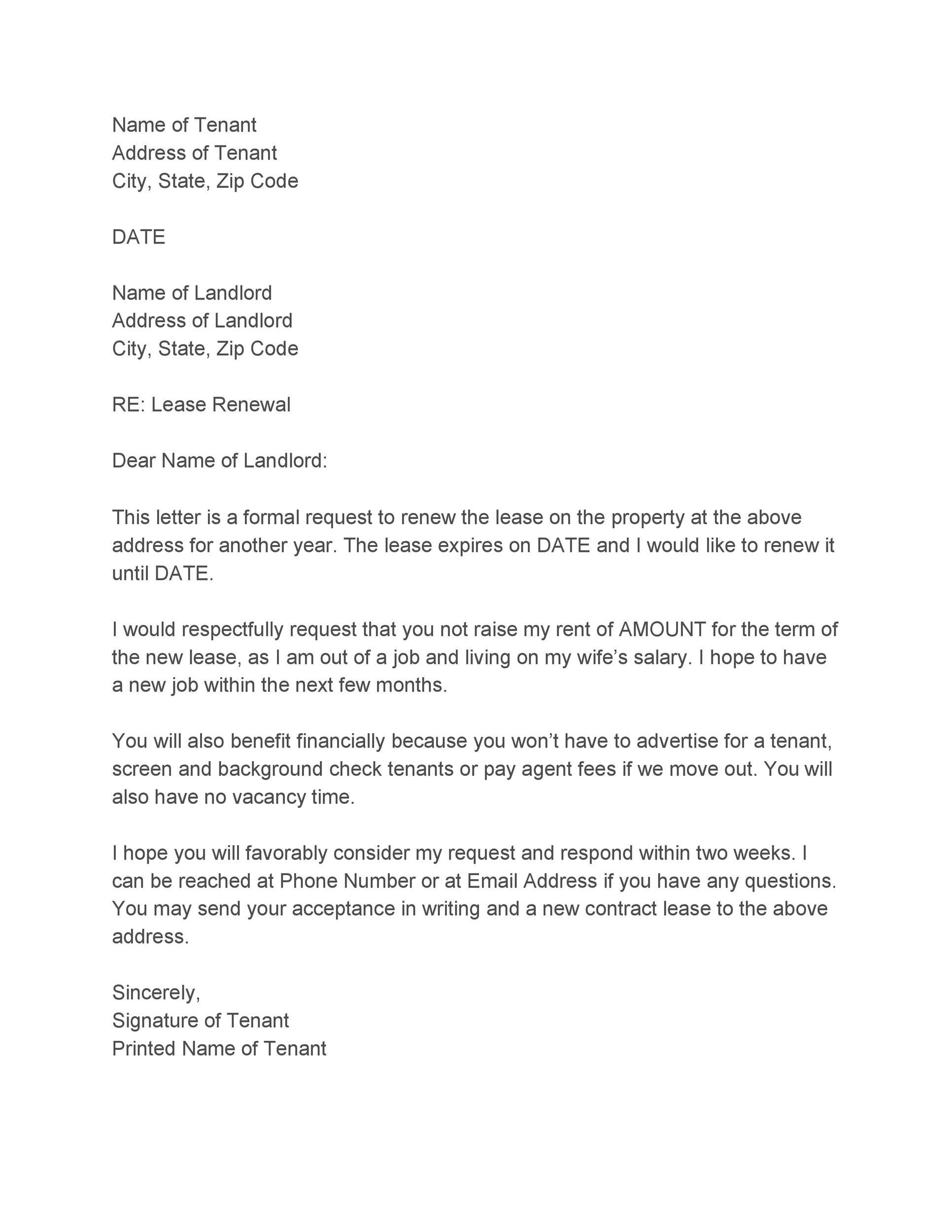 letter to landlord to renew lease