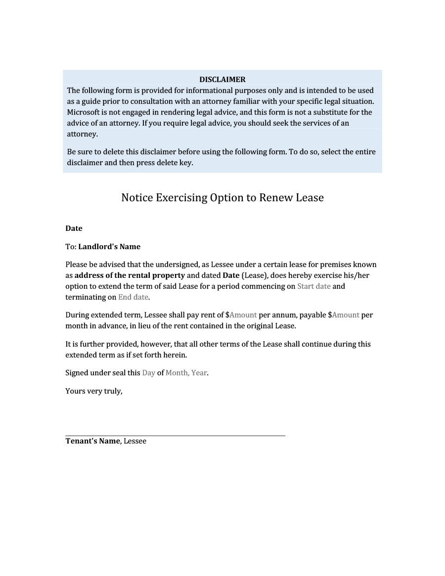36 Best Lease Renewal Letters & Forms (Word & PDF) ᐅ Template Lab