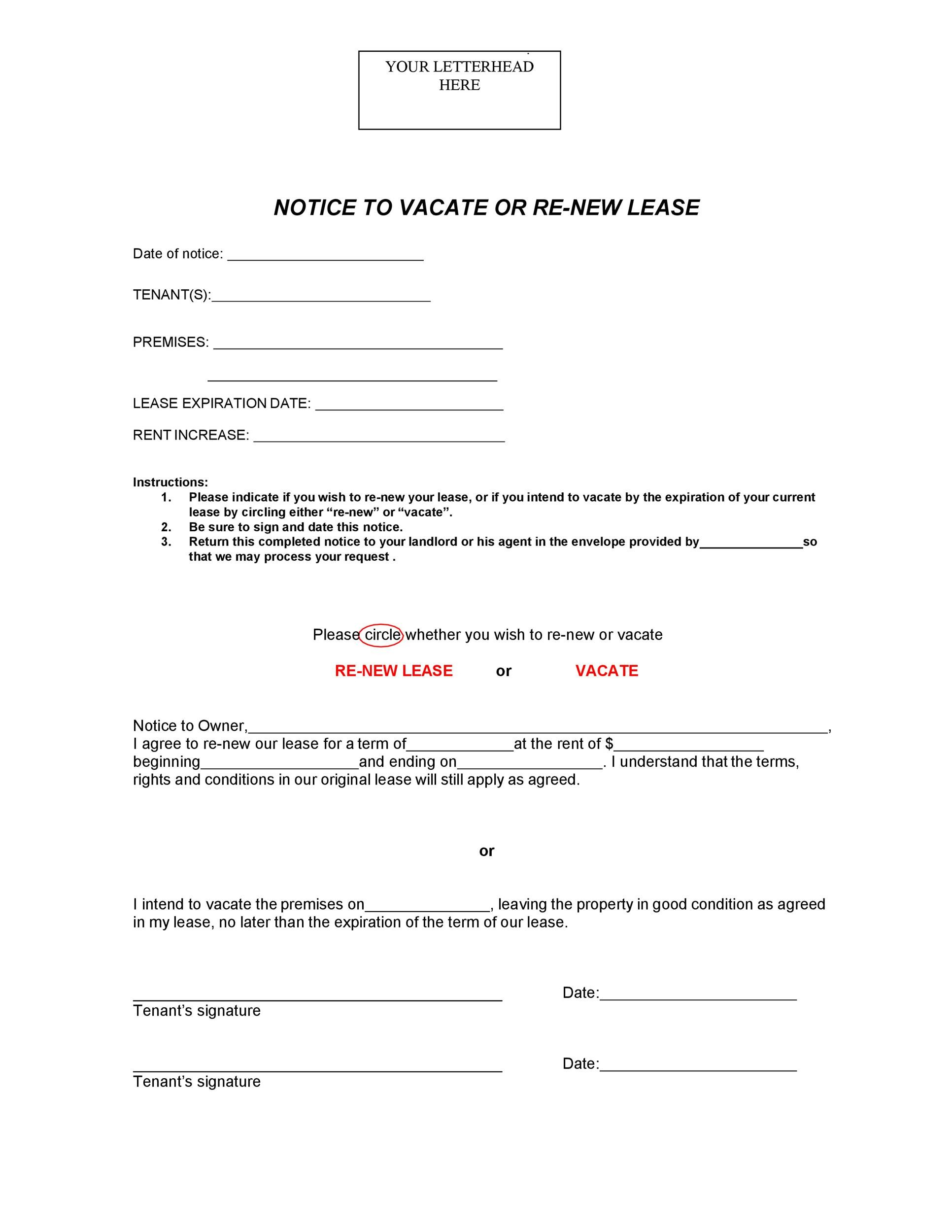 Free lease renewal letter 03