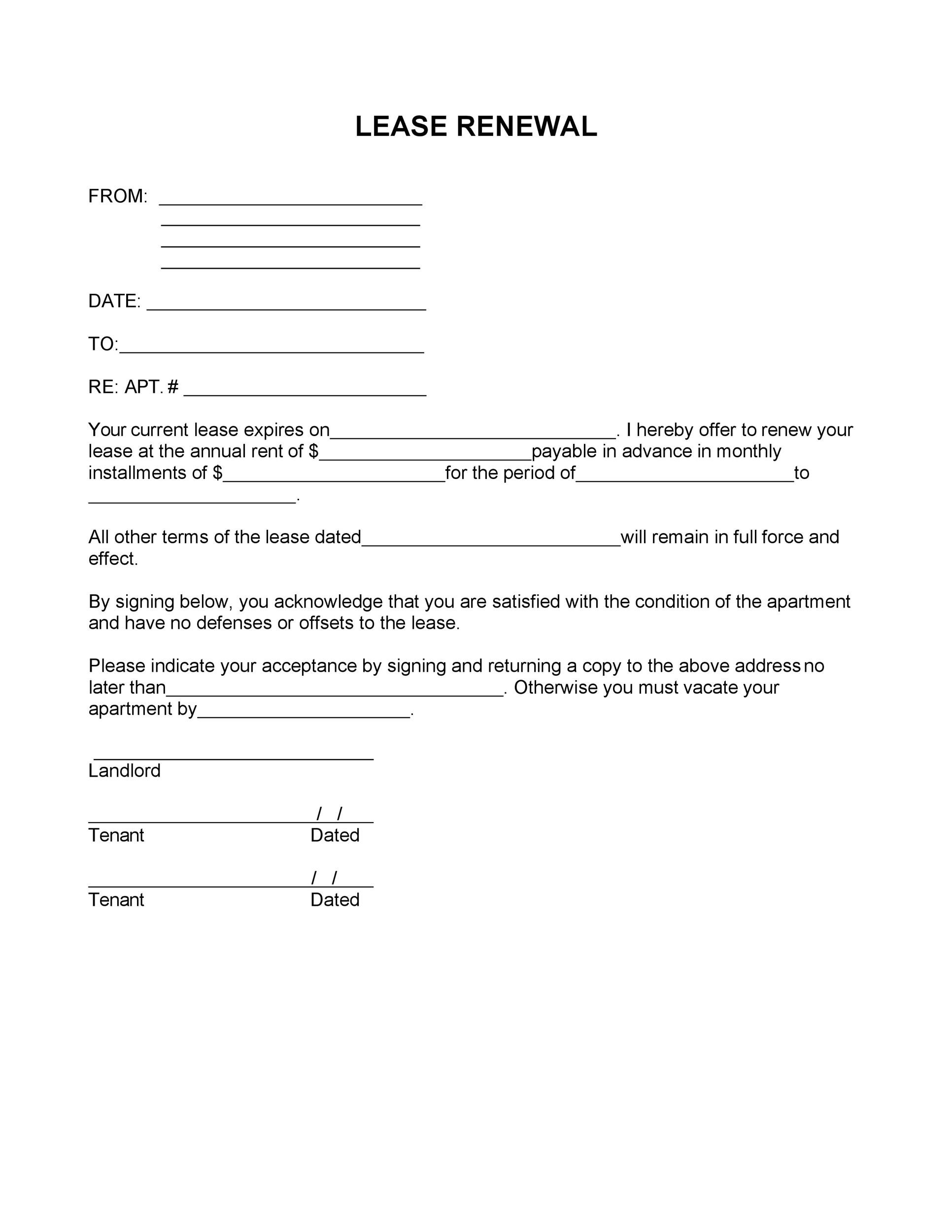 Free lease renewal letter 06
