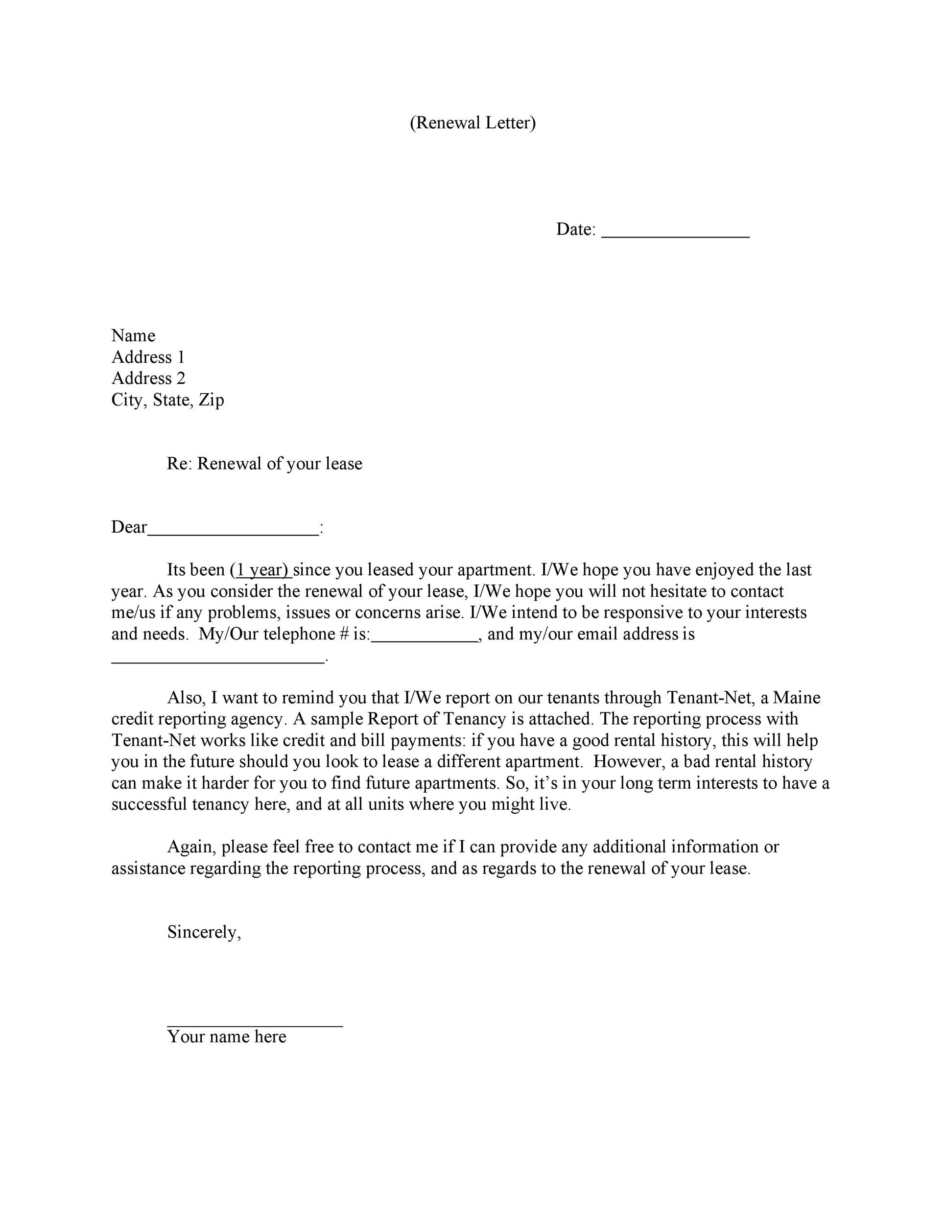 sample letter of renewal of contract of lease