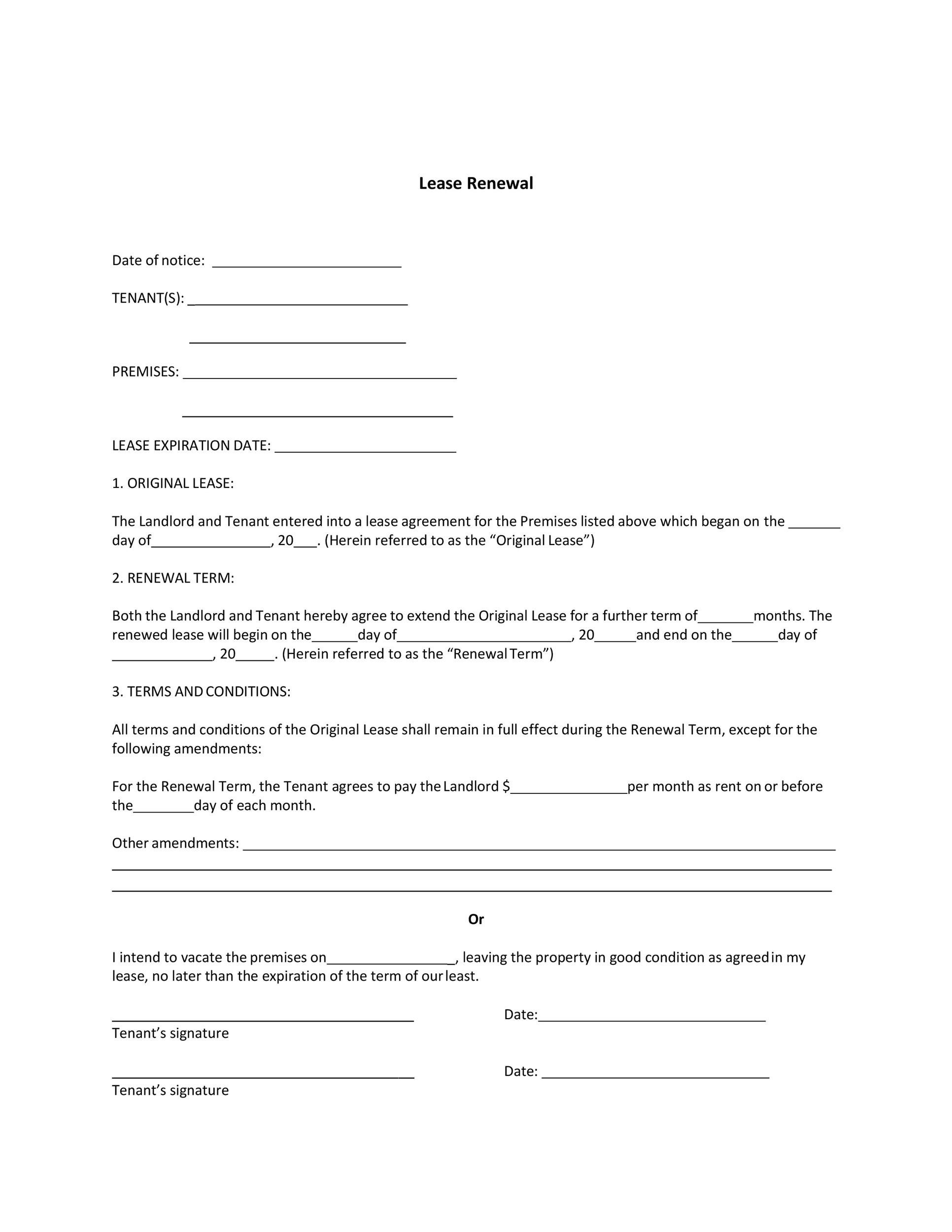 Free lease renewal letter 11