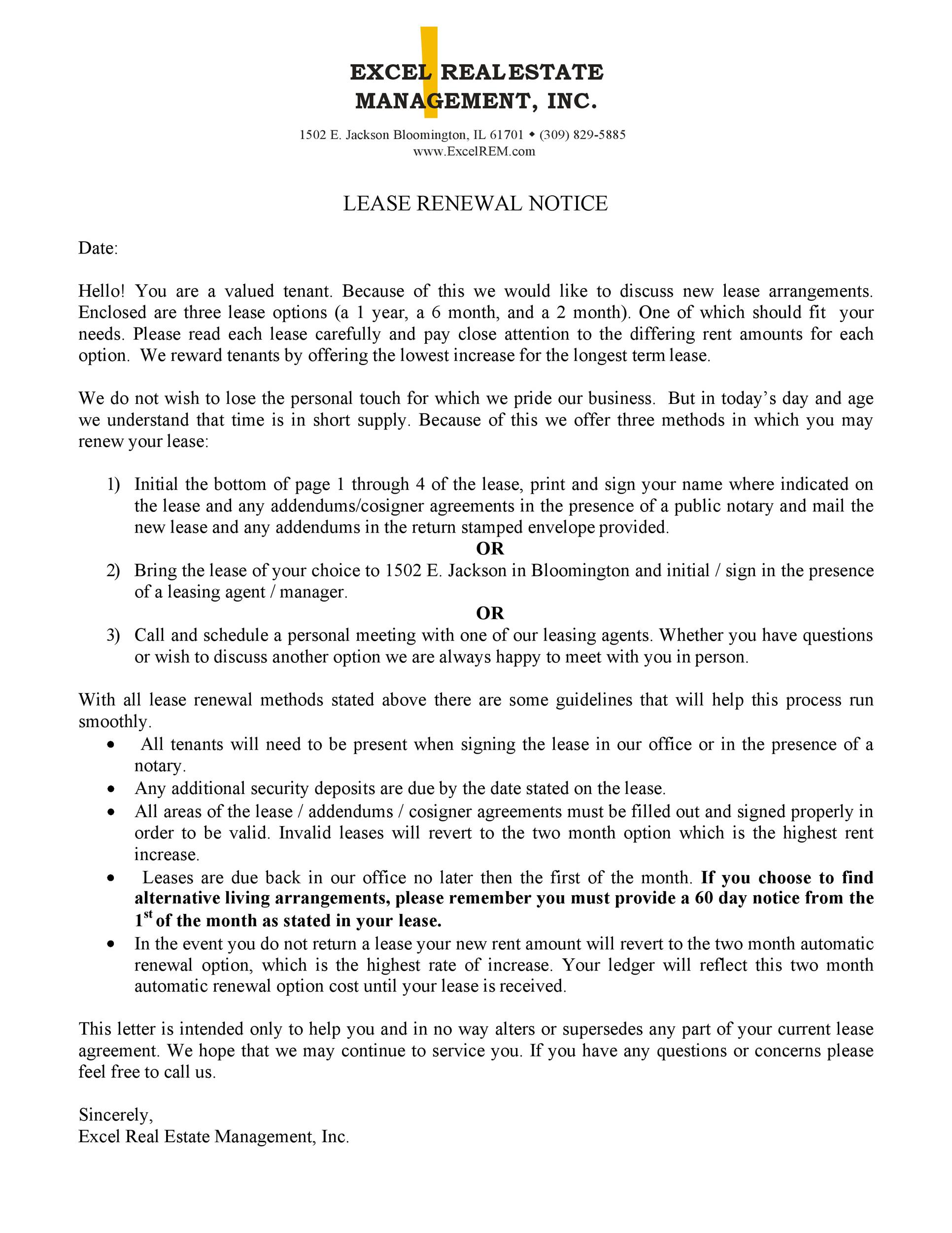 letter to tenant not to renew lease