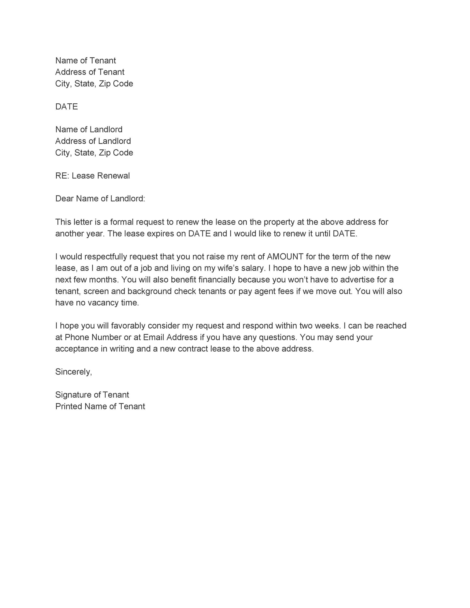 Sample Letter To Landlord Requesting Not To Increase Rent from templatelab.com