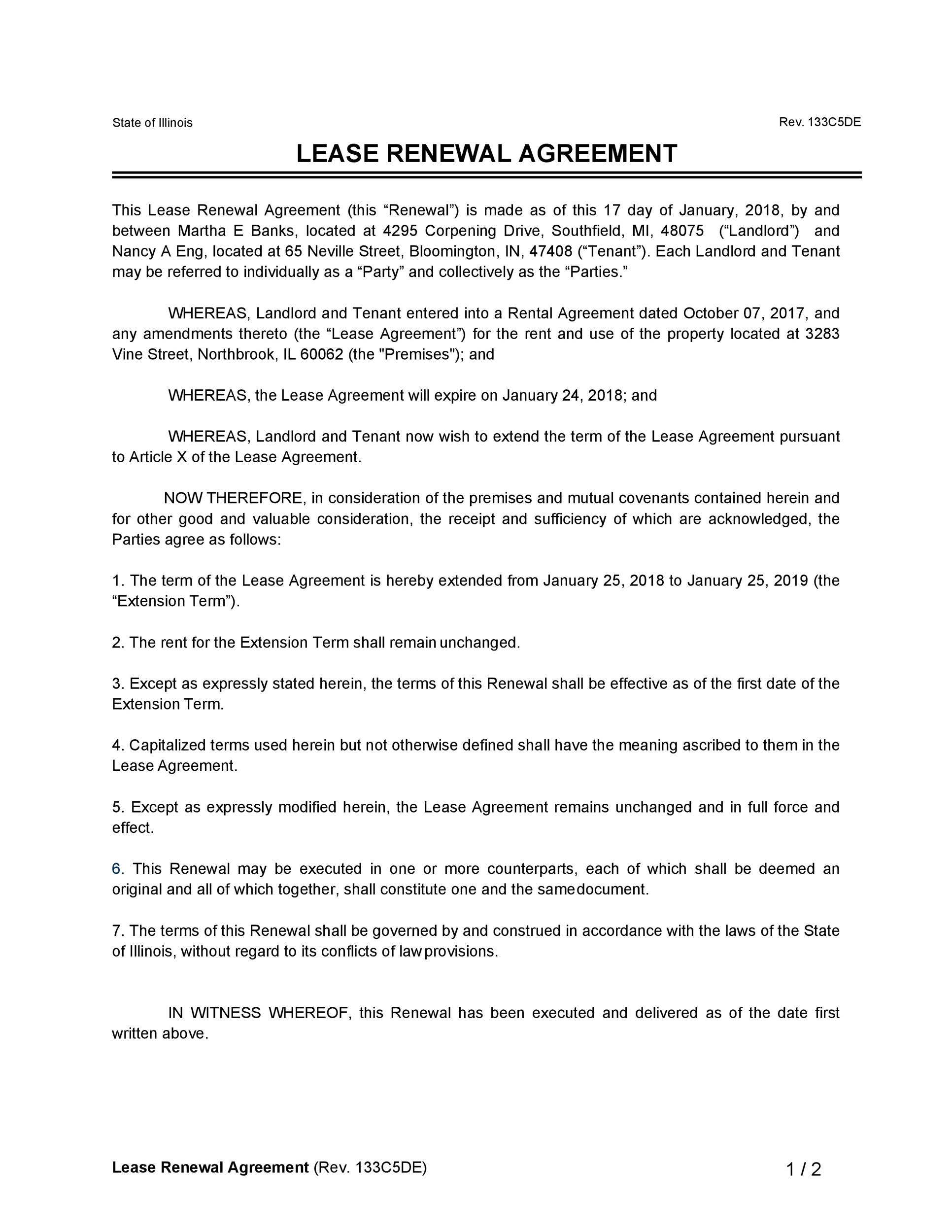 Free lease renewal letter 23