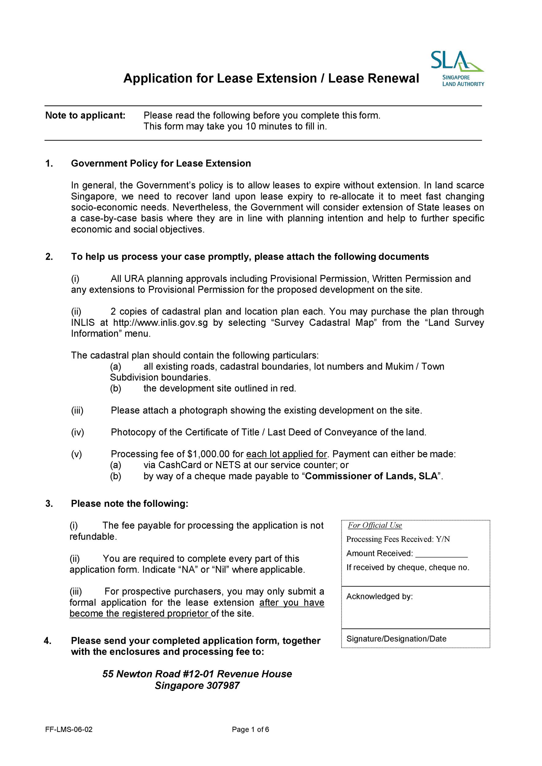 Free lease renewal letter 30