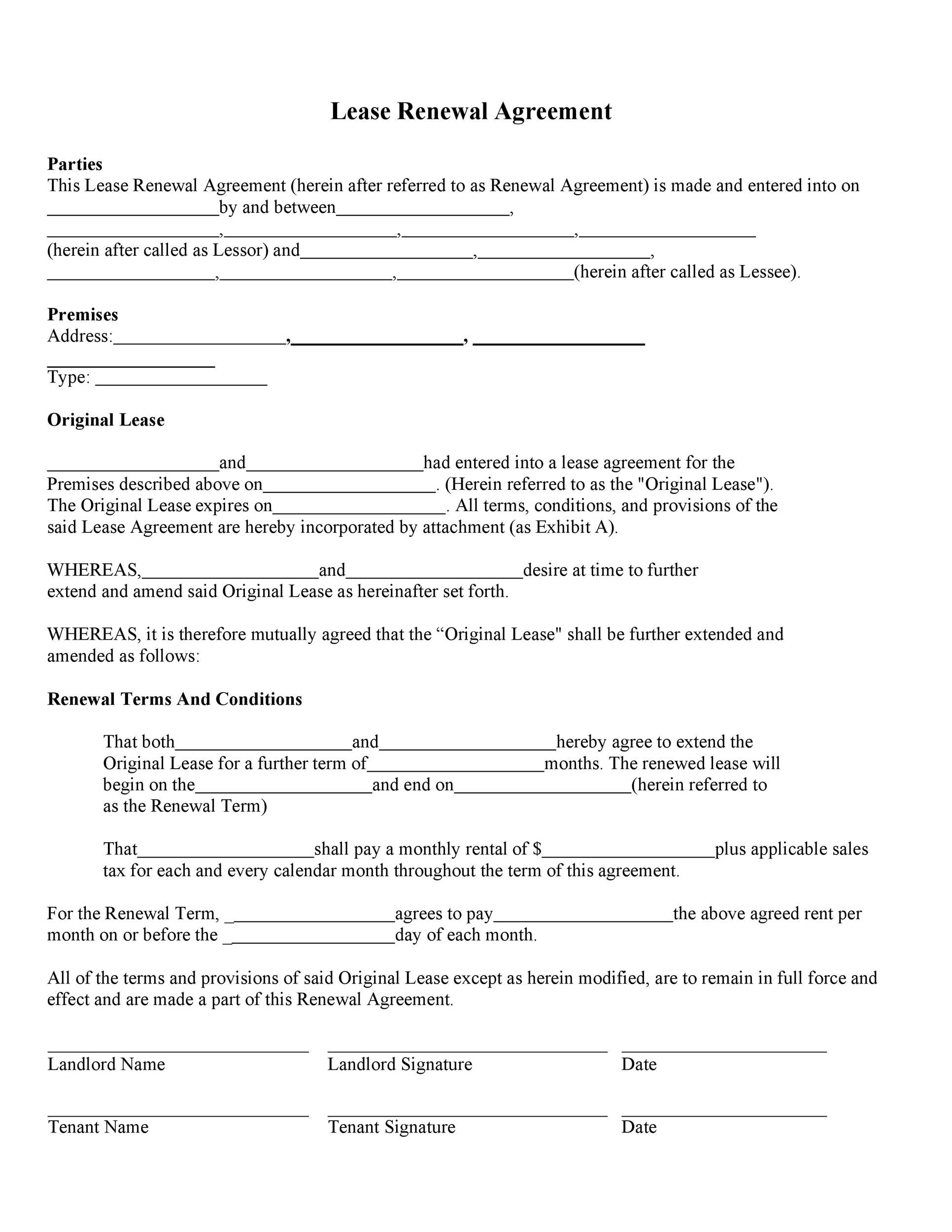 36 Best Lease Renewal Letters Forms Word Pdf ᐅ