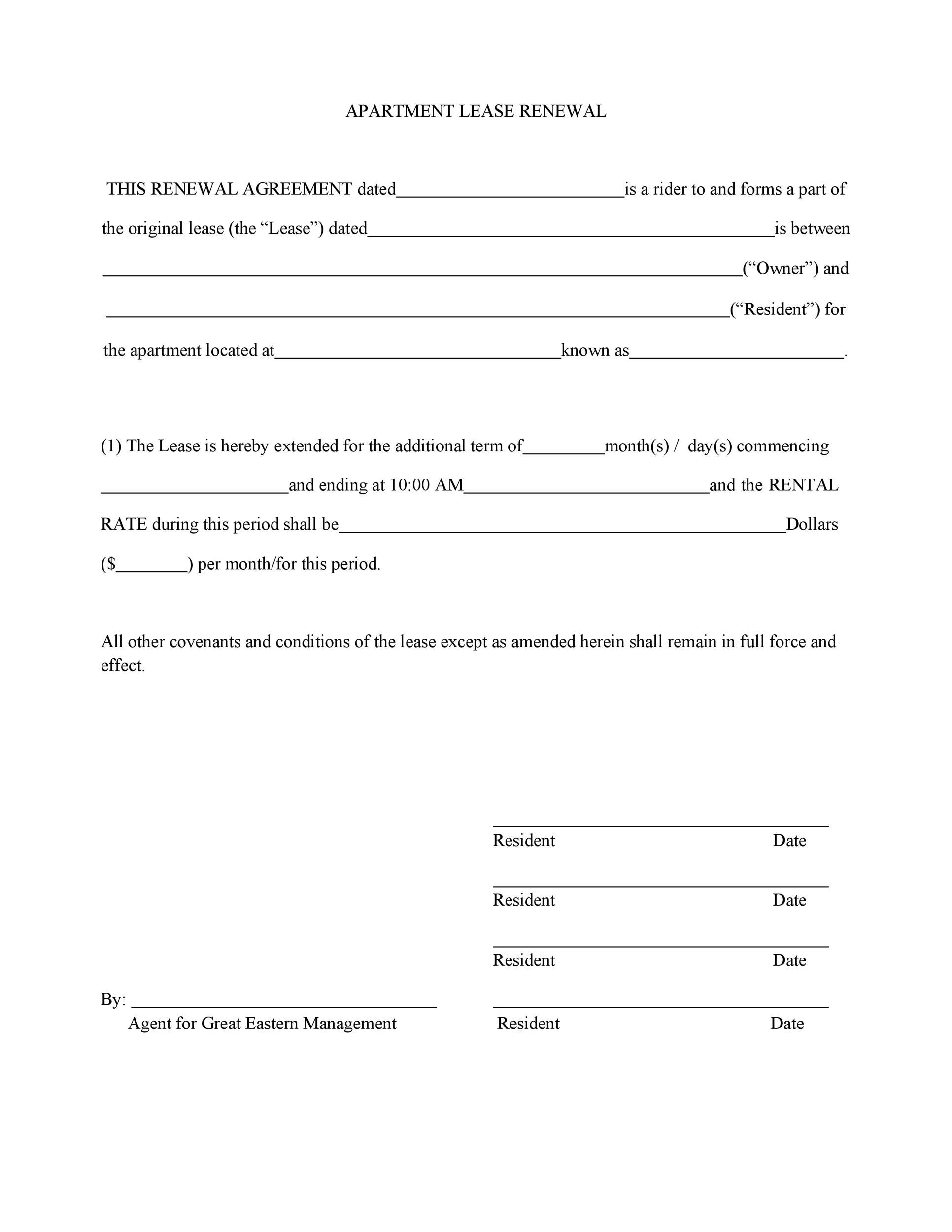 36 Best Lease Renewal Letters Forms Word Pdf Á… Templatelab