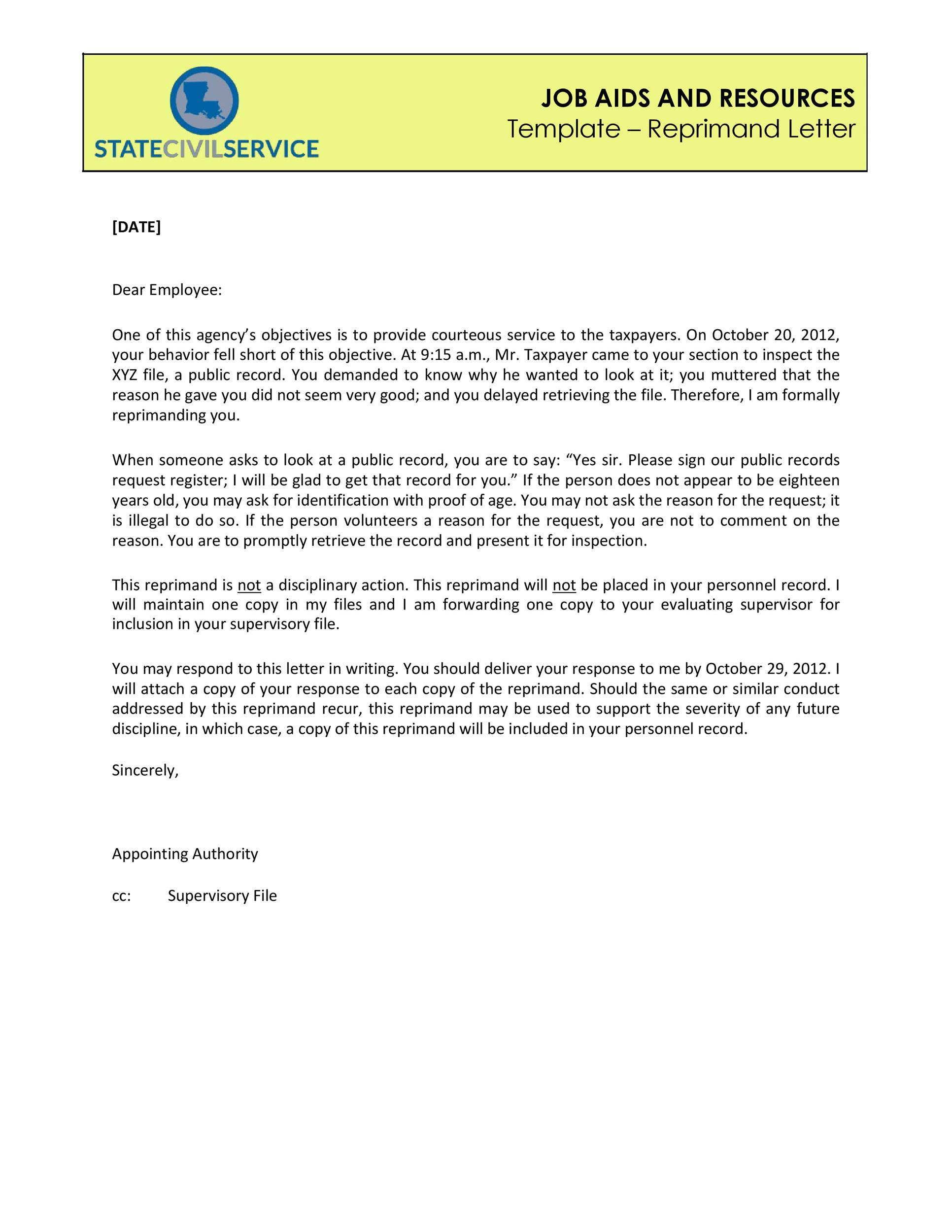 Free letter of reprimand 02