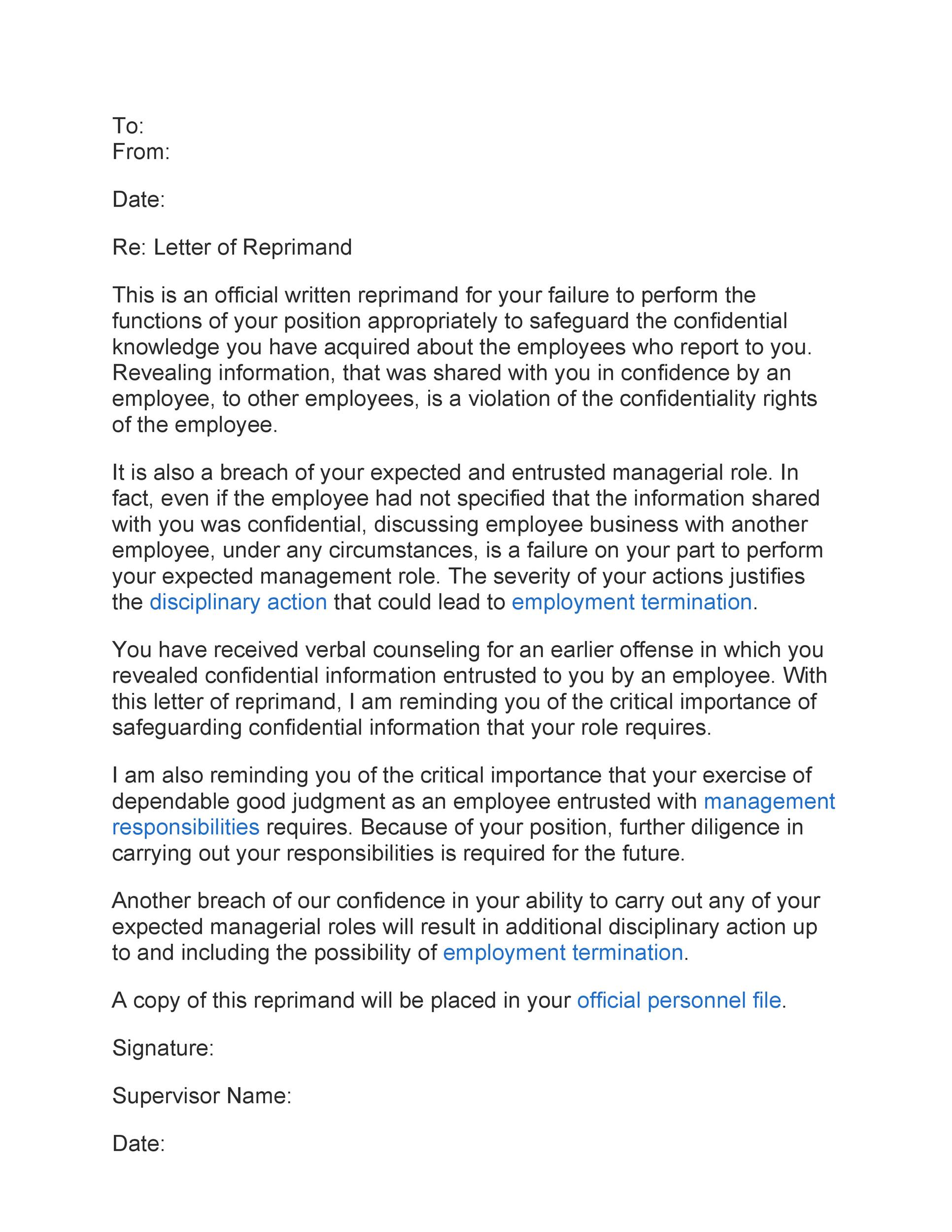 Free letter of reprimand 07
