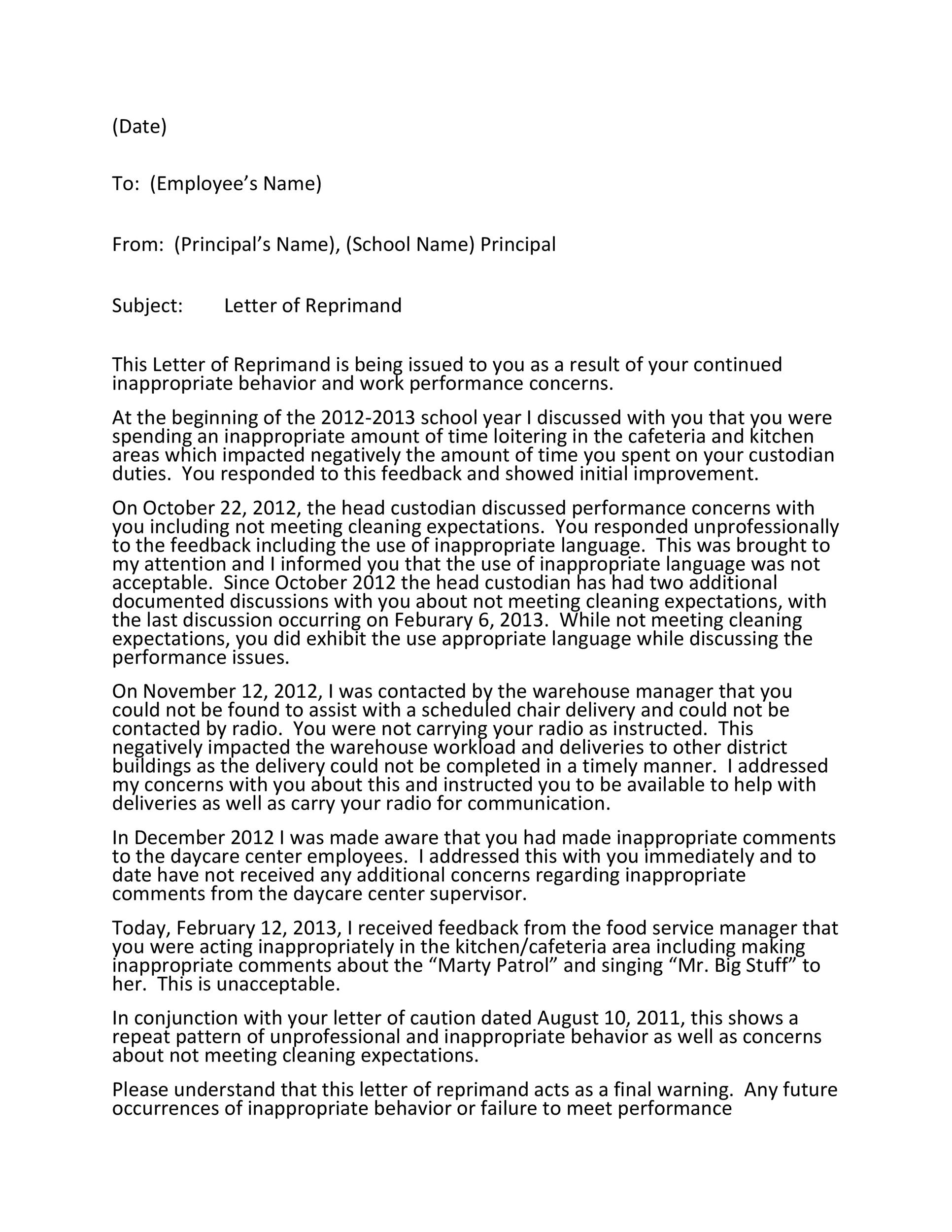 Free letter of reprimand 08