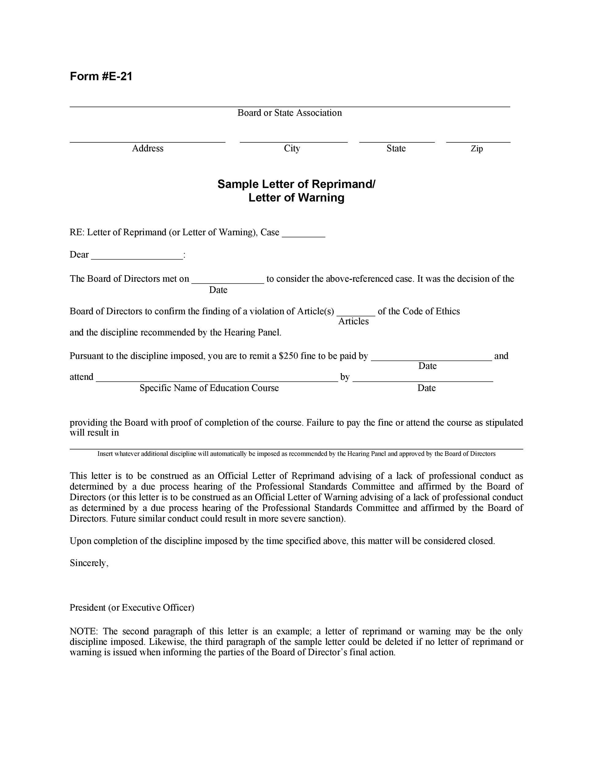 Free letter of reprimand 13