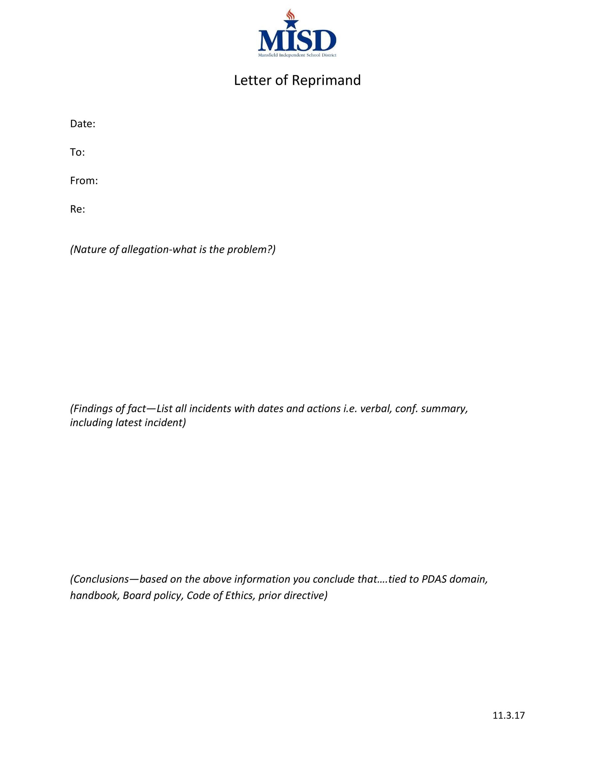 Free letter of reprimand 18