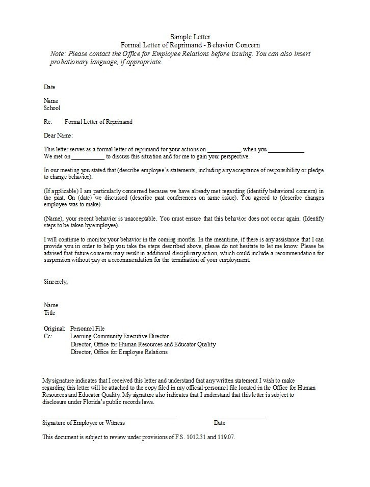 Free letter of reprimand 20