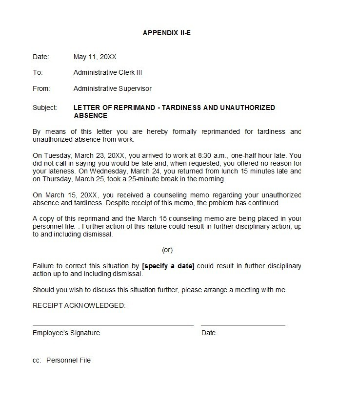 Free letter of reprimand 21