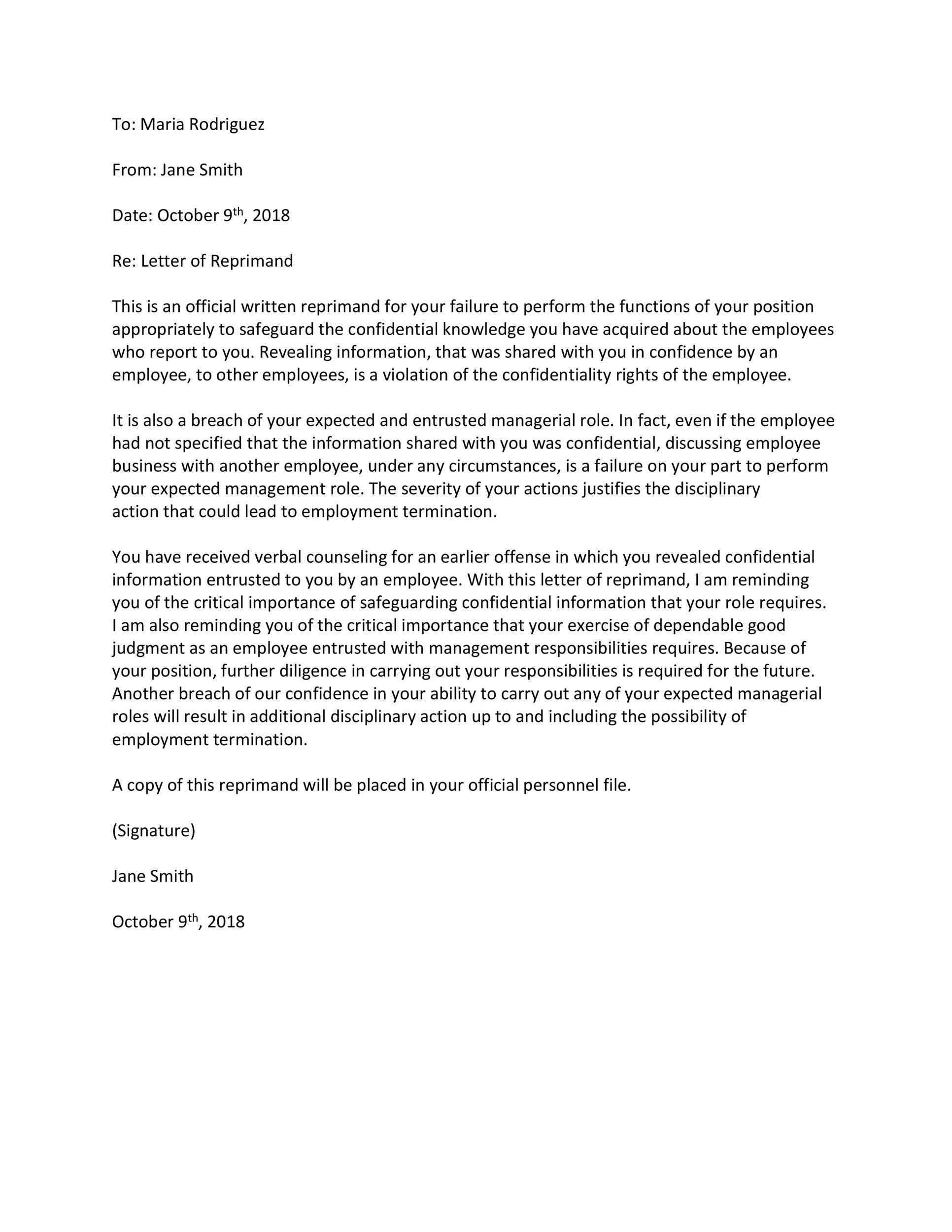 Letter Of Reprimand Teacher from templatelab.com