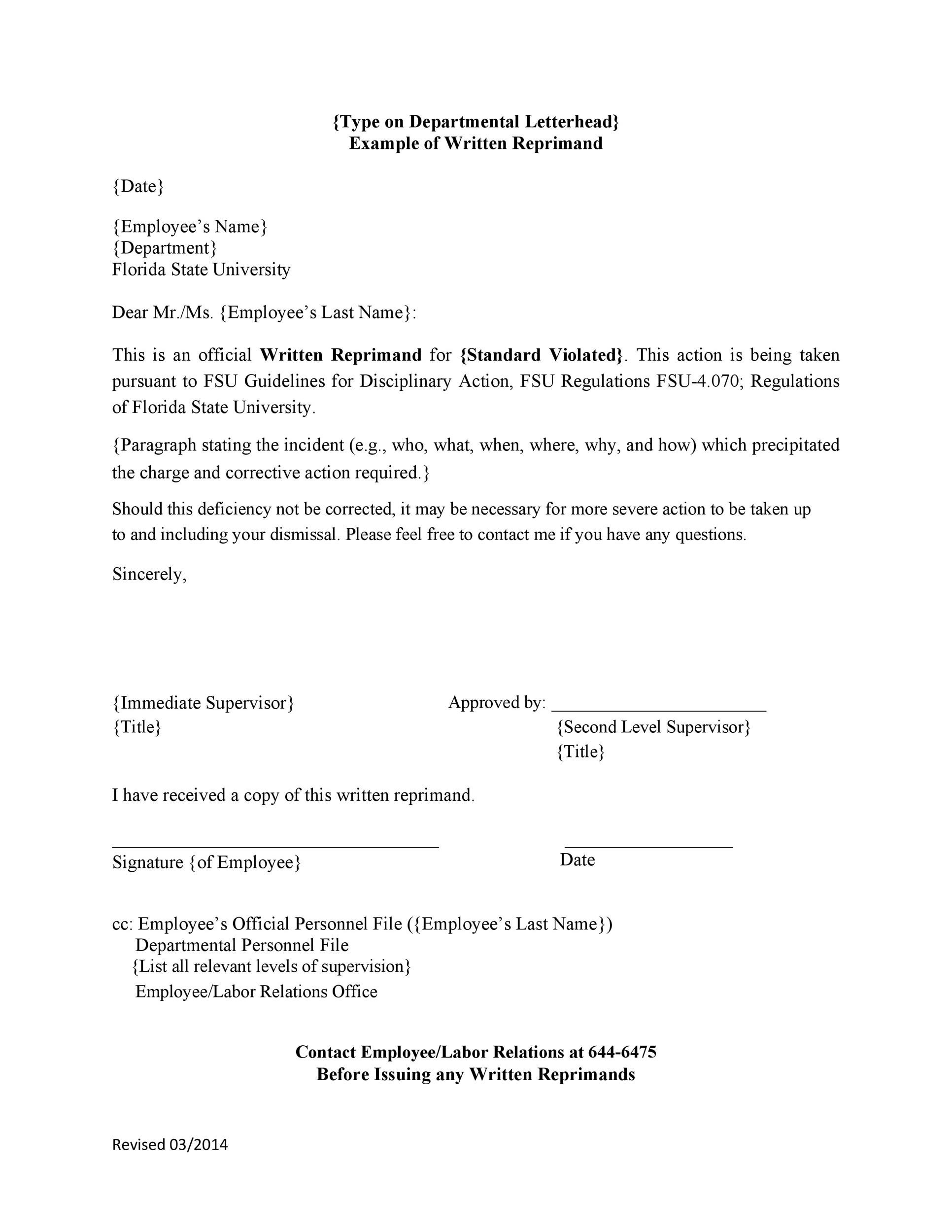 Free letter of reprimand 33