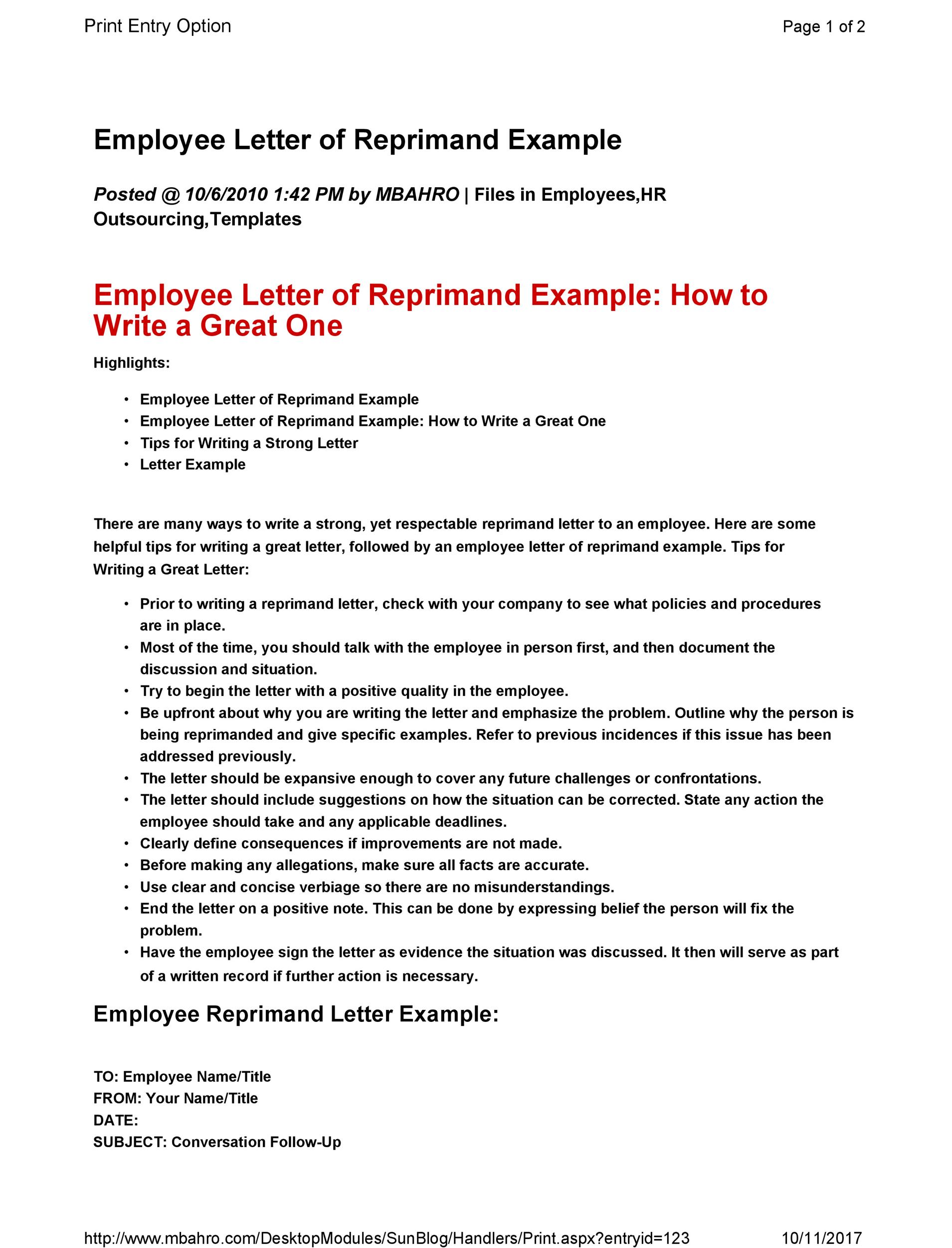 Factors to Create a Correspondence of Reprimand to an Employee