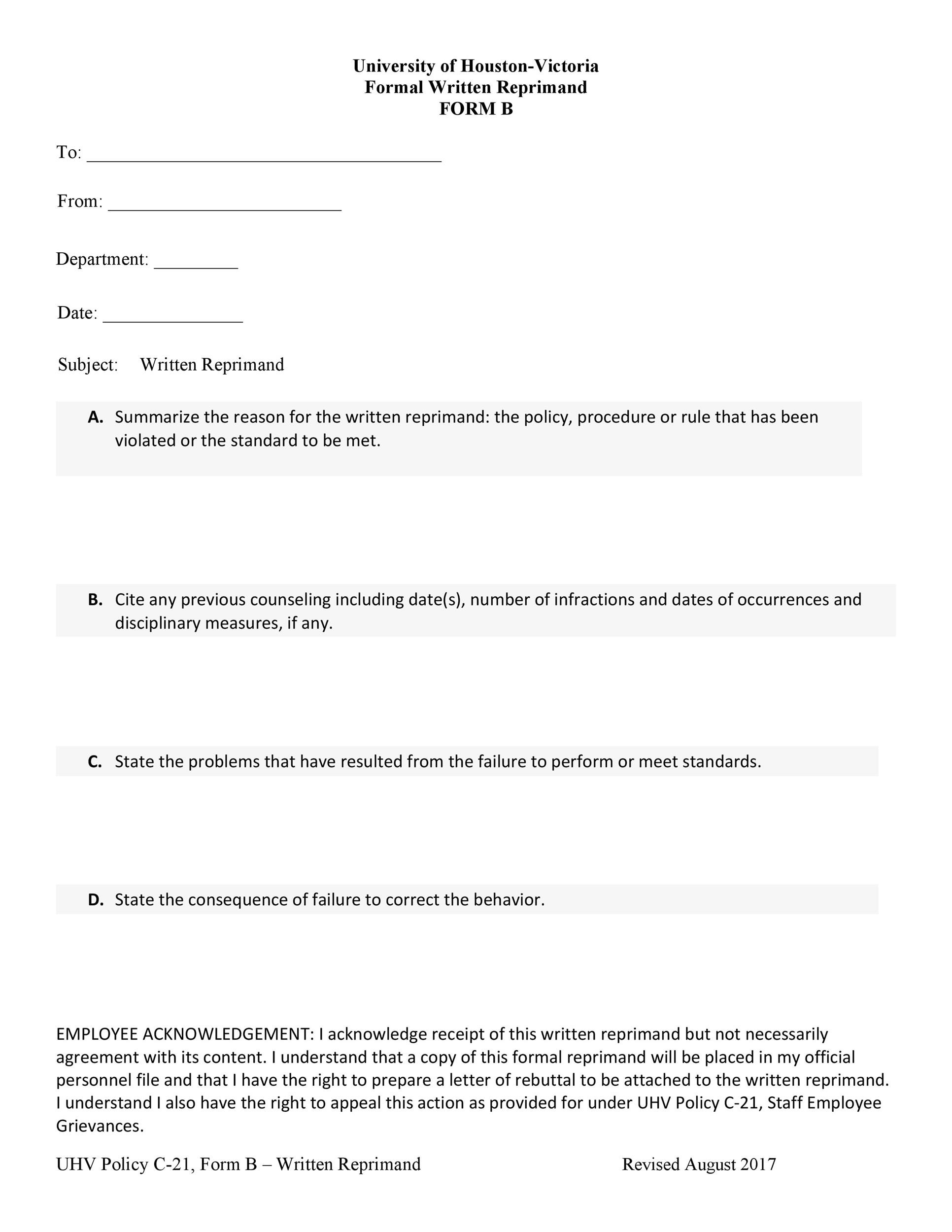 Free letter of reprimand 44