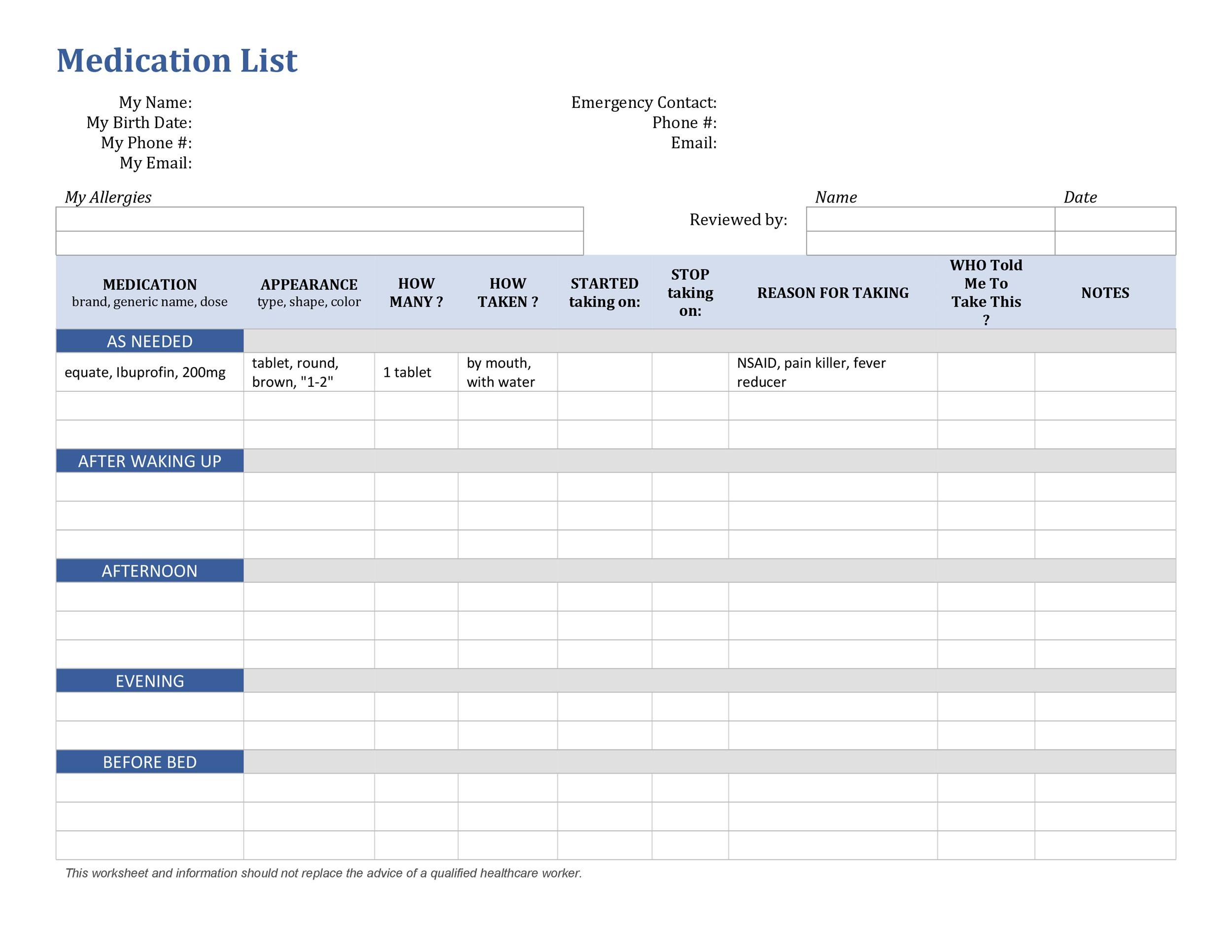 Free medication schedule template 07