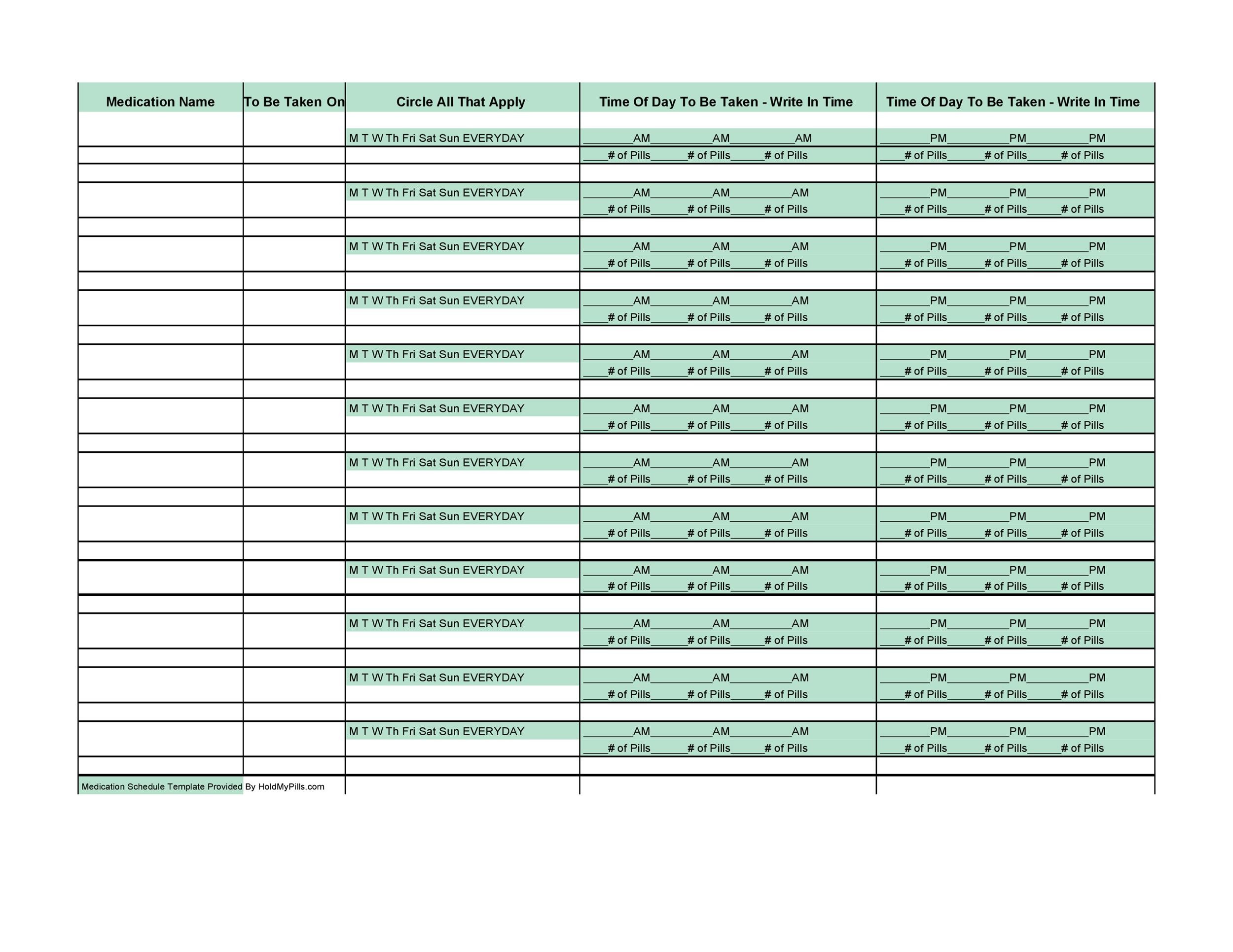 Free medication schedule template 09