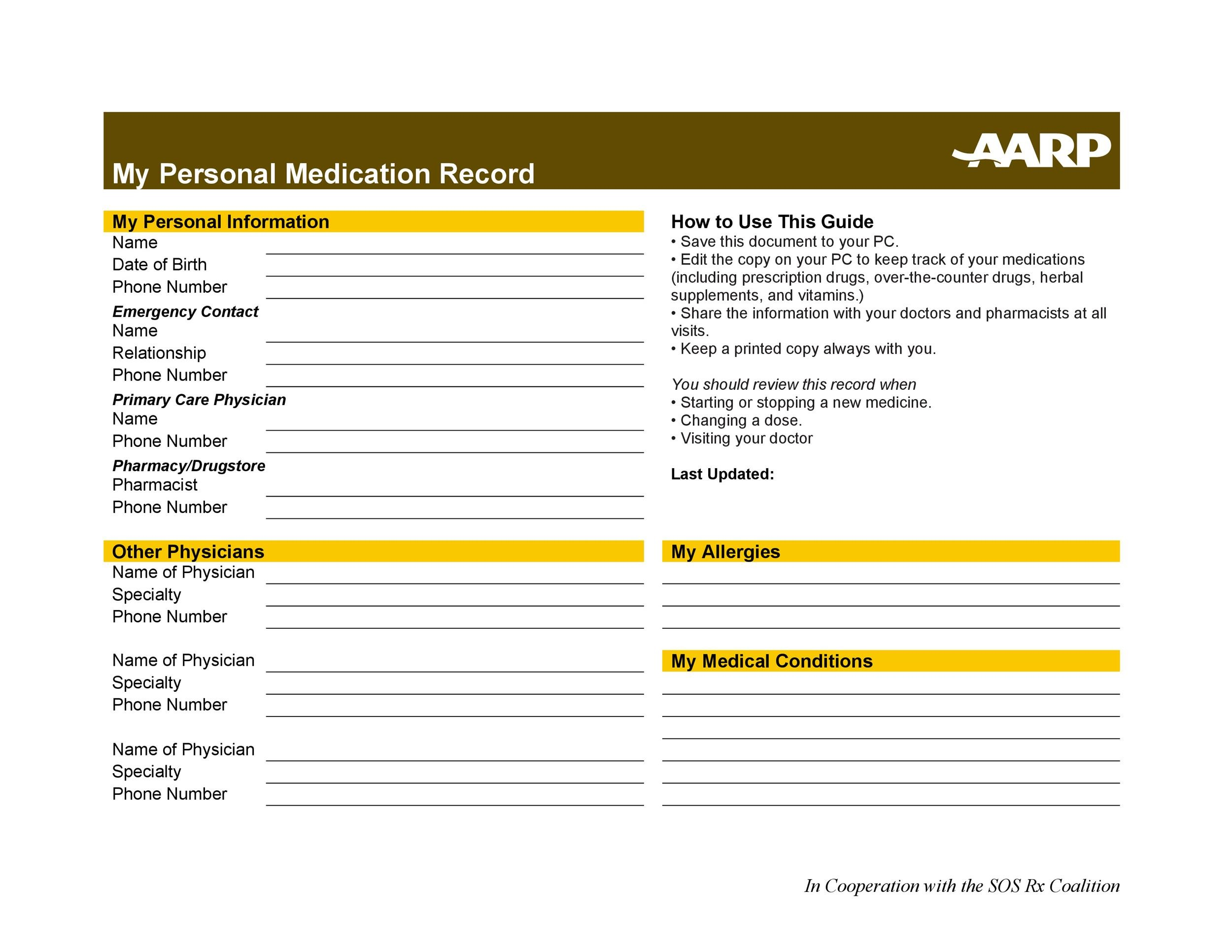 Free medication schedule template 12