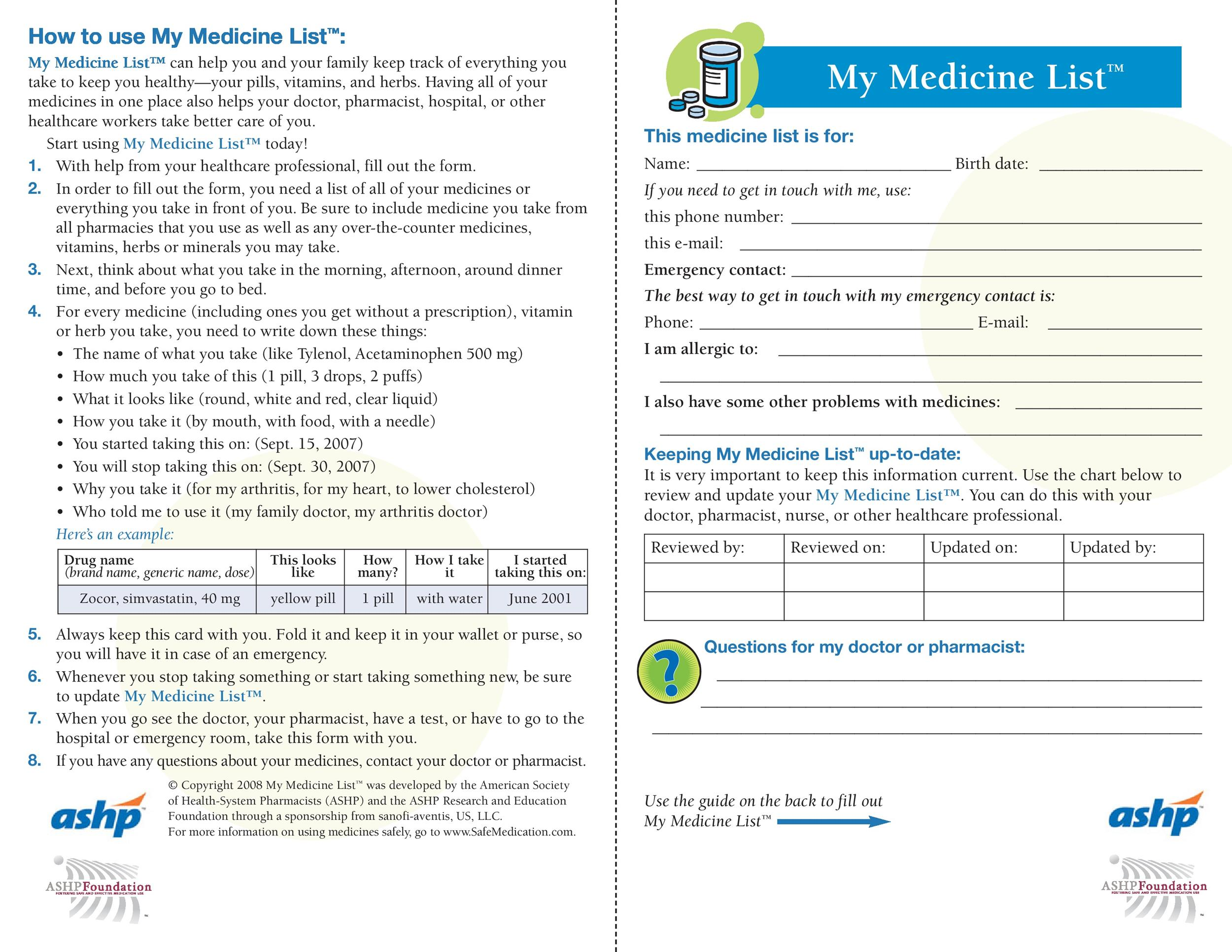 Free medication schedule template 13