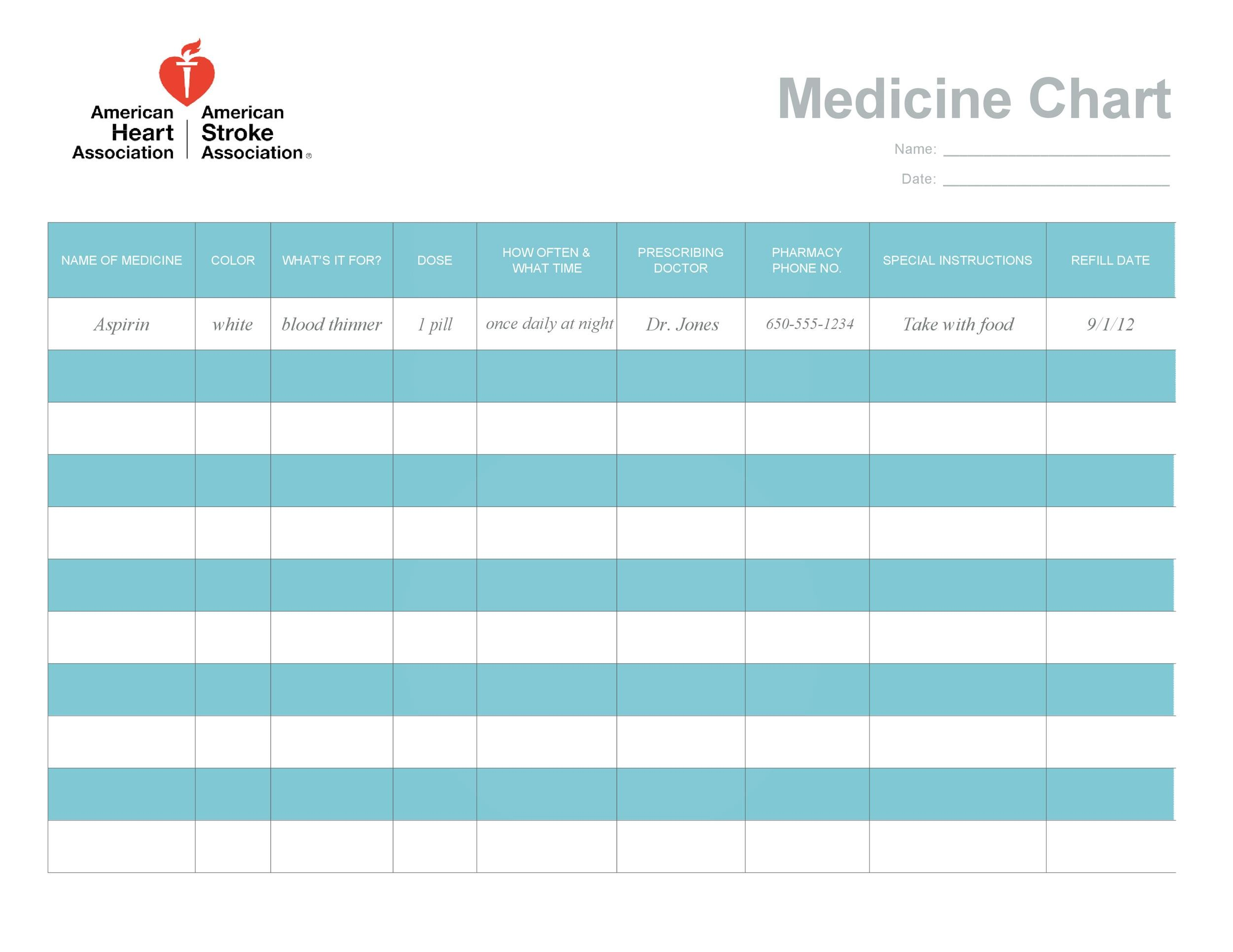 Free medication schedule template 15