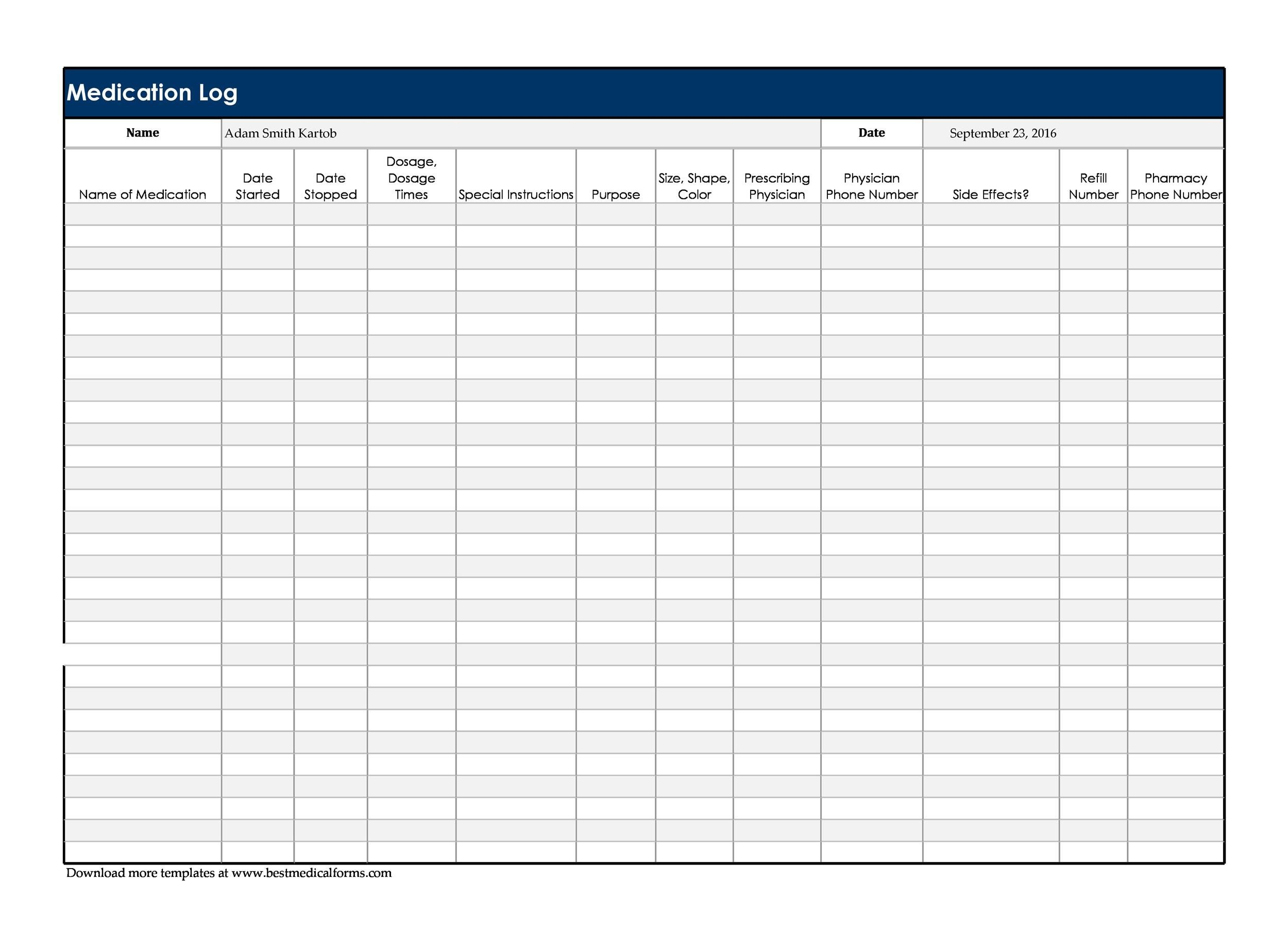 Free medication schedule template 17