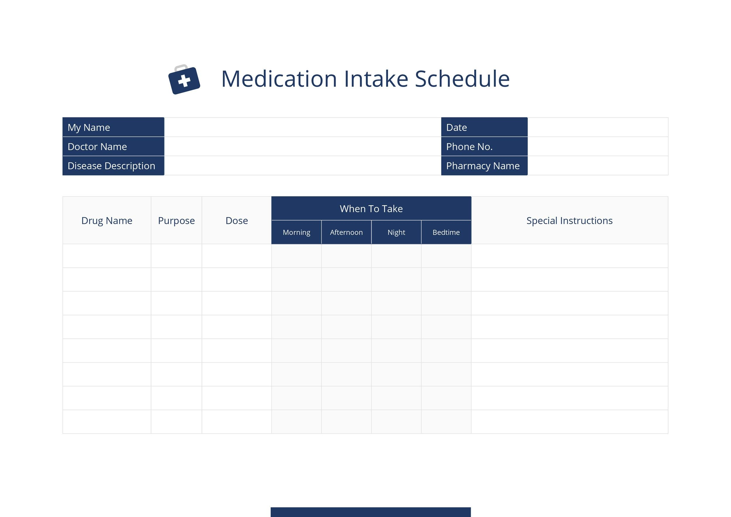 Free medication schedule template 22
