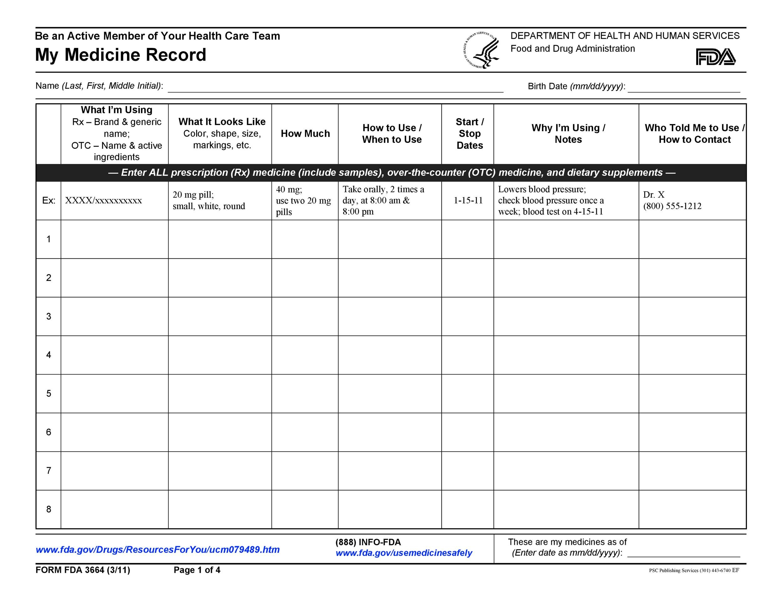 Free medication schedule template 25