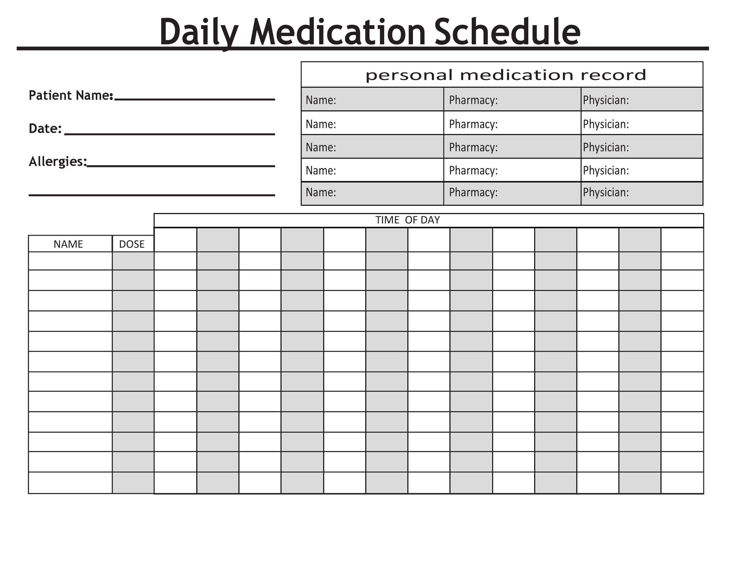 Dashing image within medication schedule printable