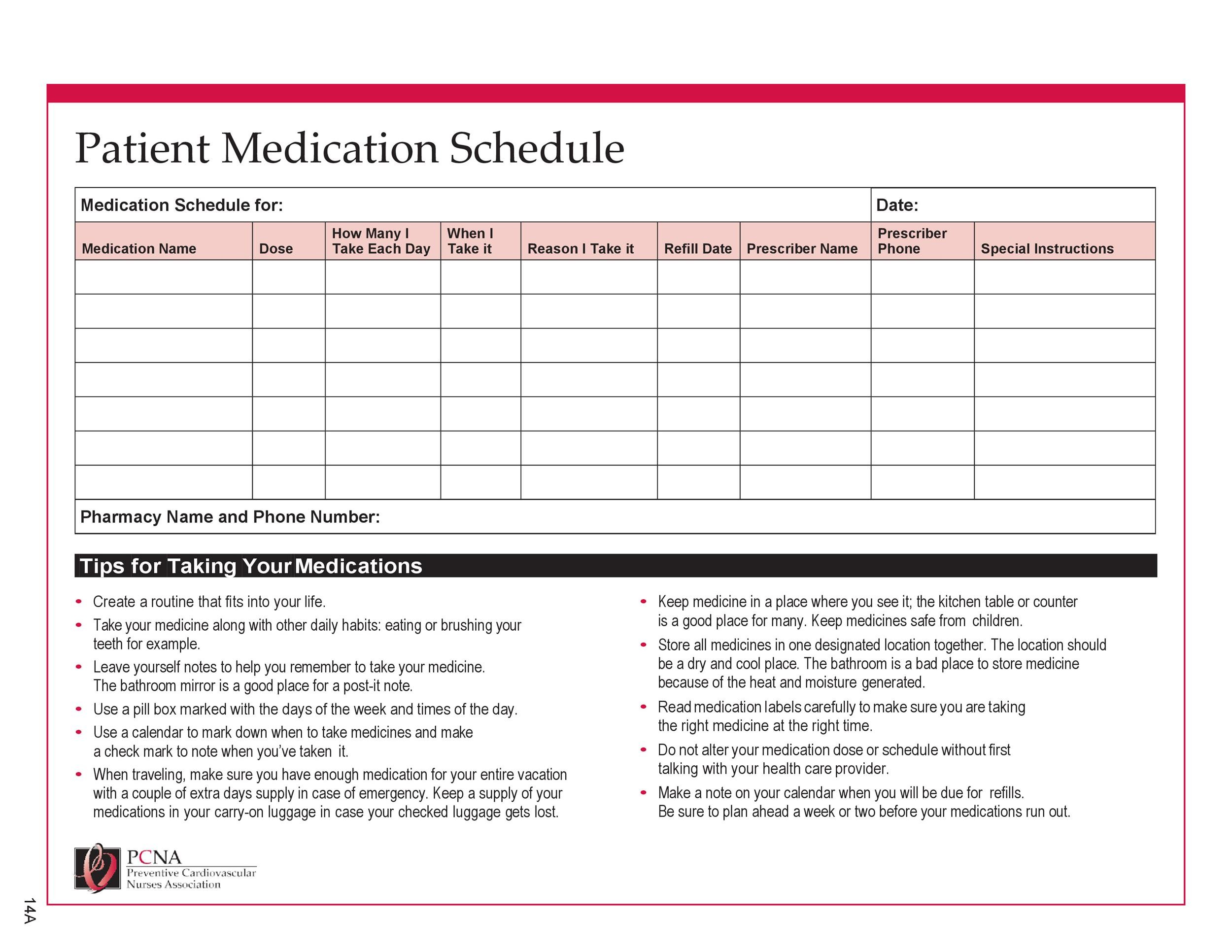 Free medication schedule template 28