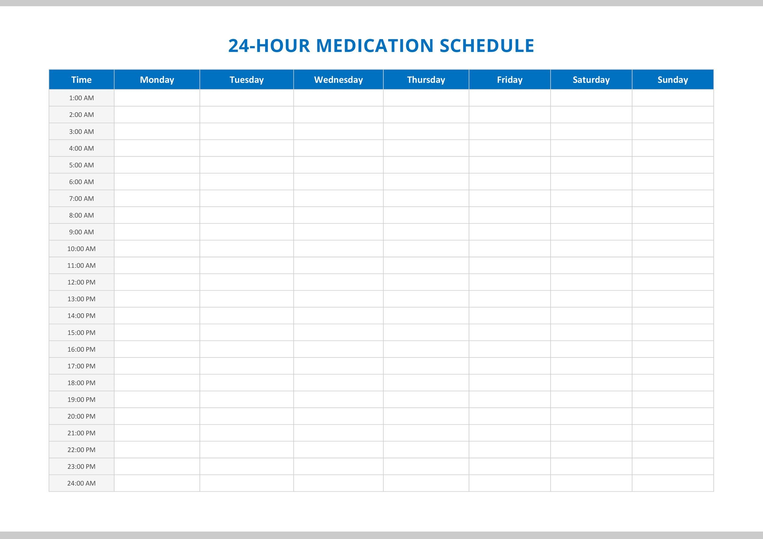Free medication schedule template 29